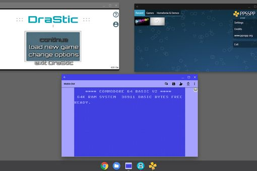 Screenshot of Chromebook, with DraStic emulator, PPSSPP Gold emulator, and Commodore 64 emulator displayed.