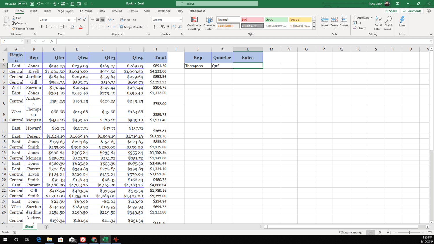 Screenshot of an example spreadsheet of quarterly sales