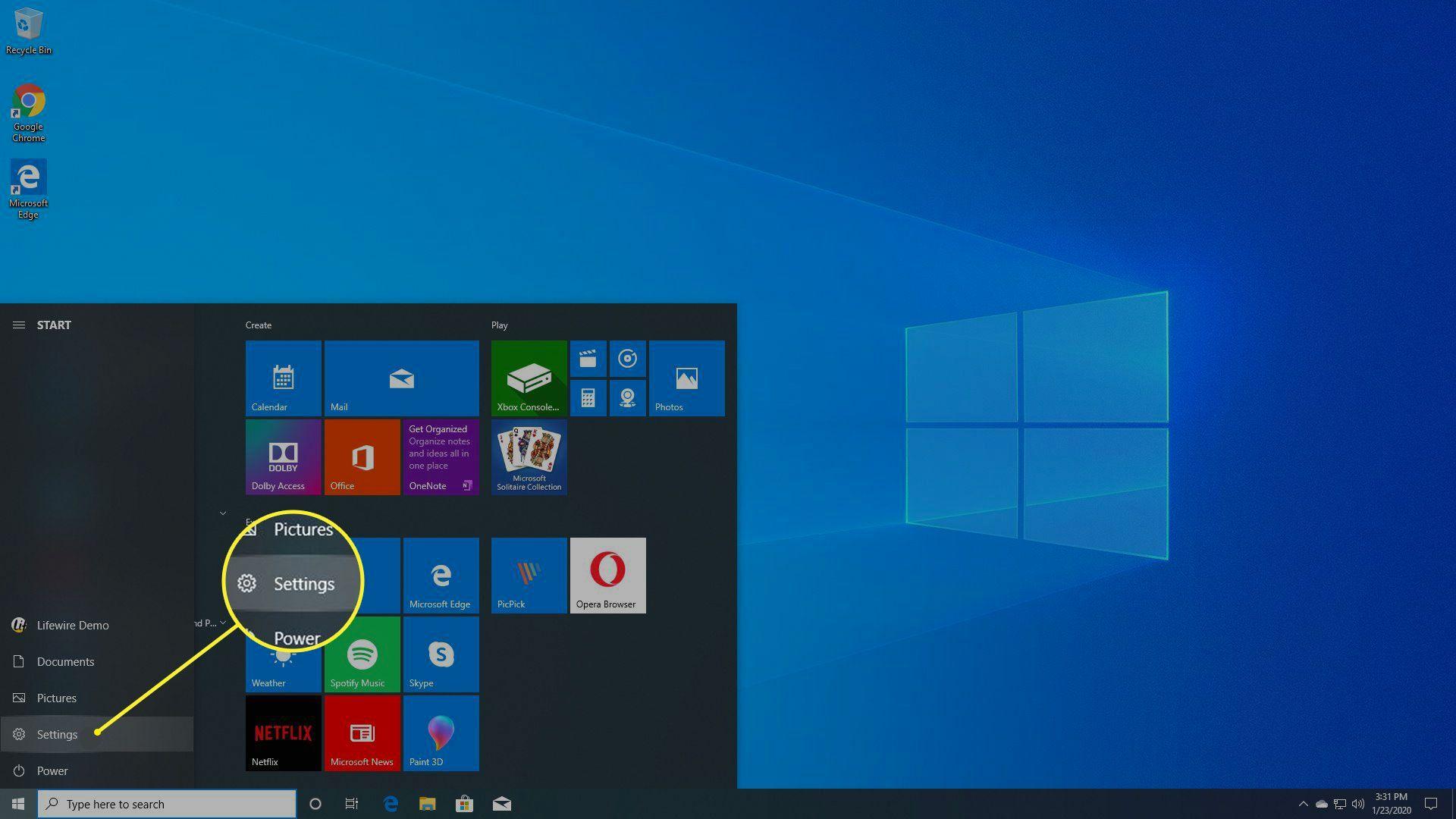Windows Start > Settings