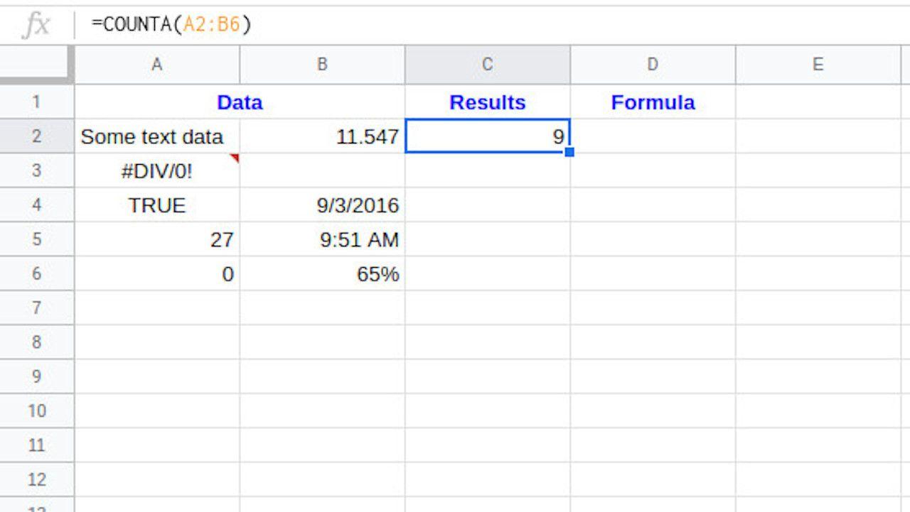 Google Sheets COUNTA result