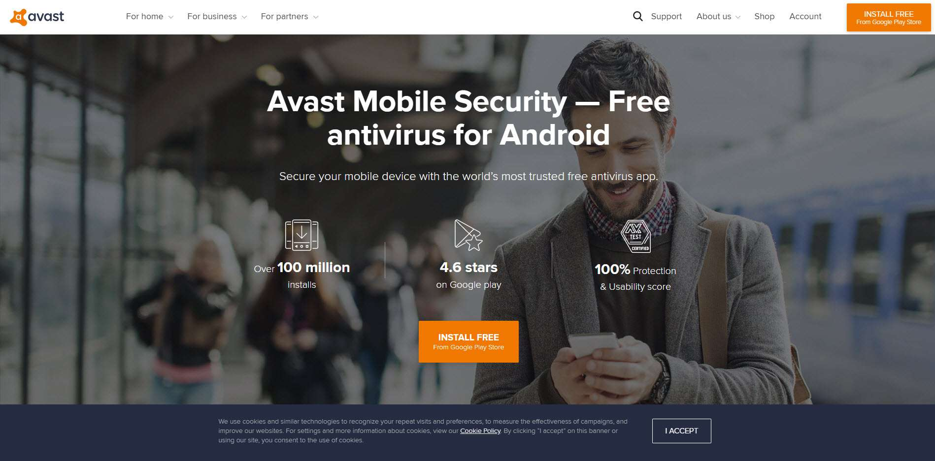 A screenshot of the Avast for Android download website.