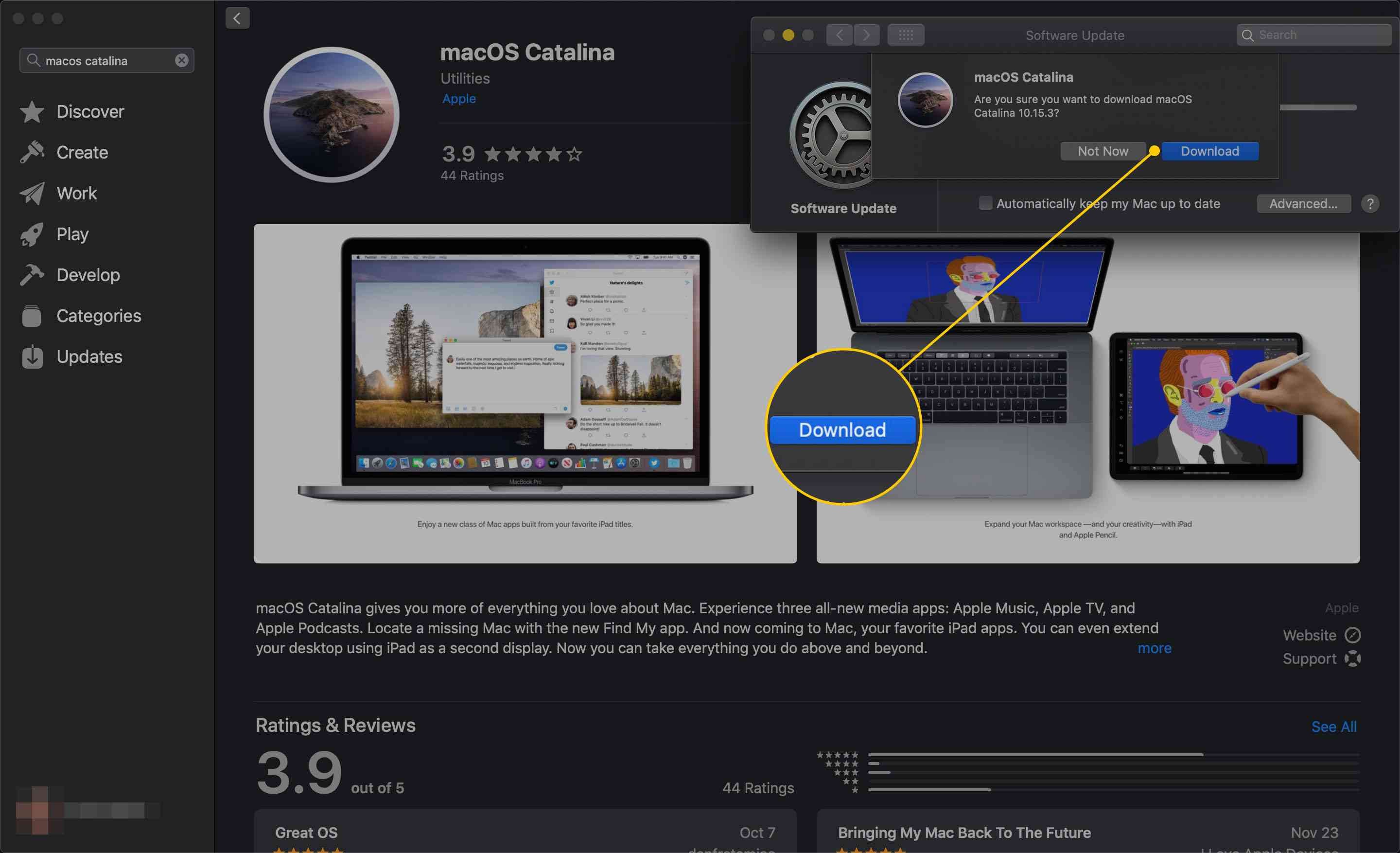 Download button for macOS Catalina