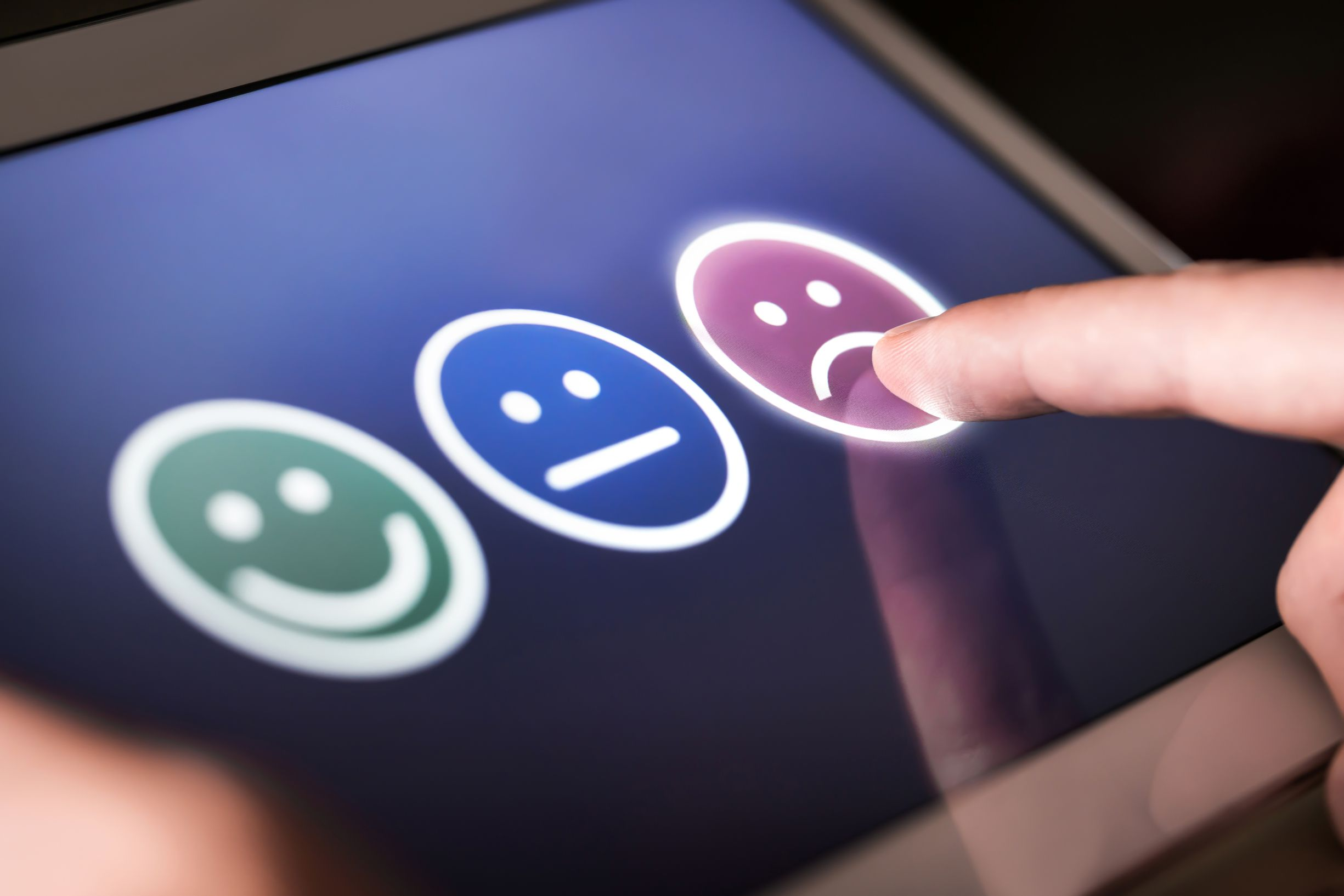 Unhappy and disappointed customer giving low rating and negative feedback in survey, poll or questionnaire