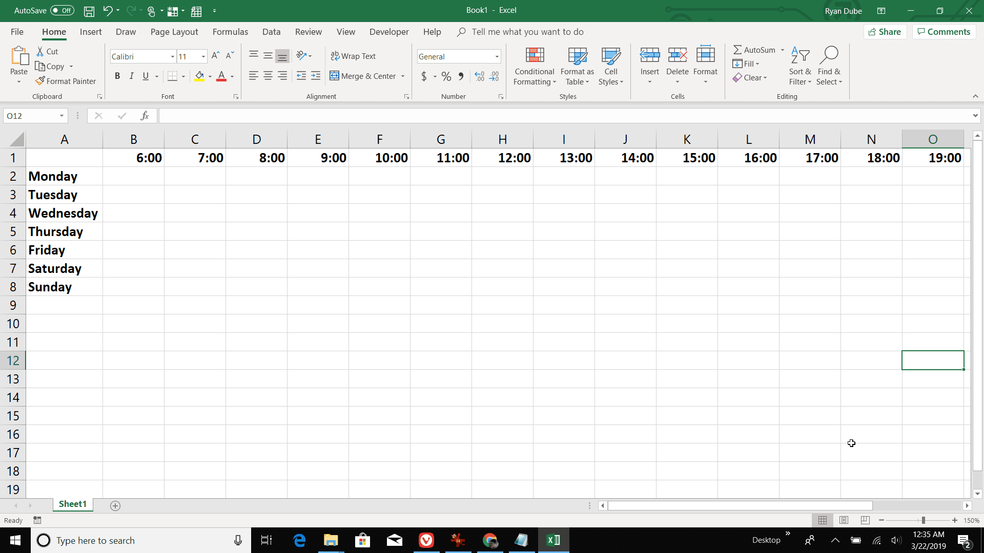 Screenshot of creating a daily column in Excel