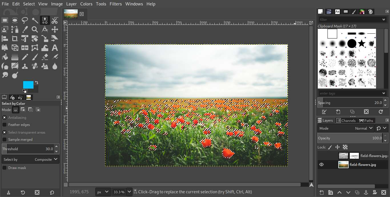 GIMP select by color
