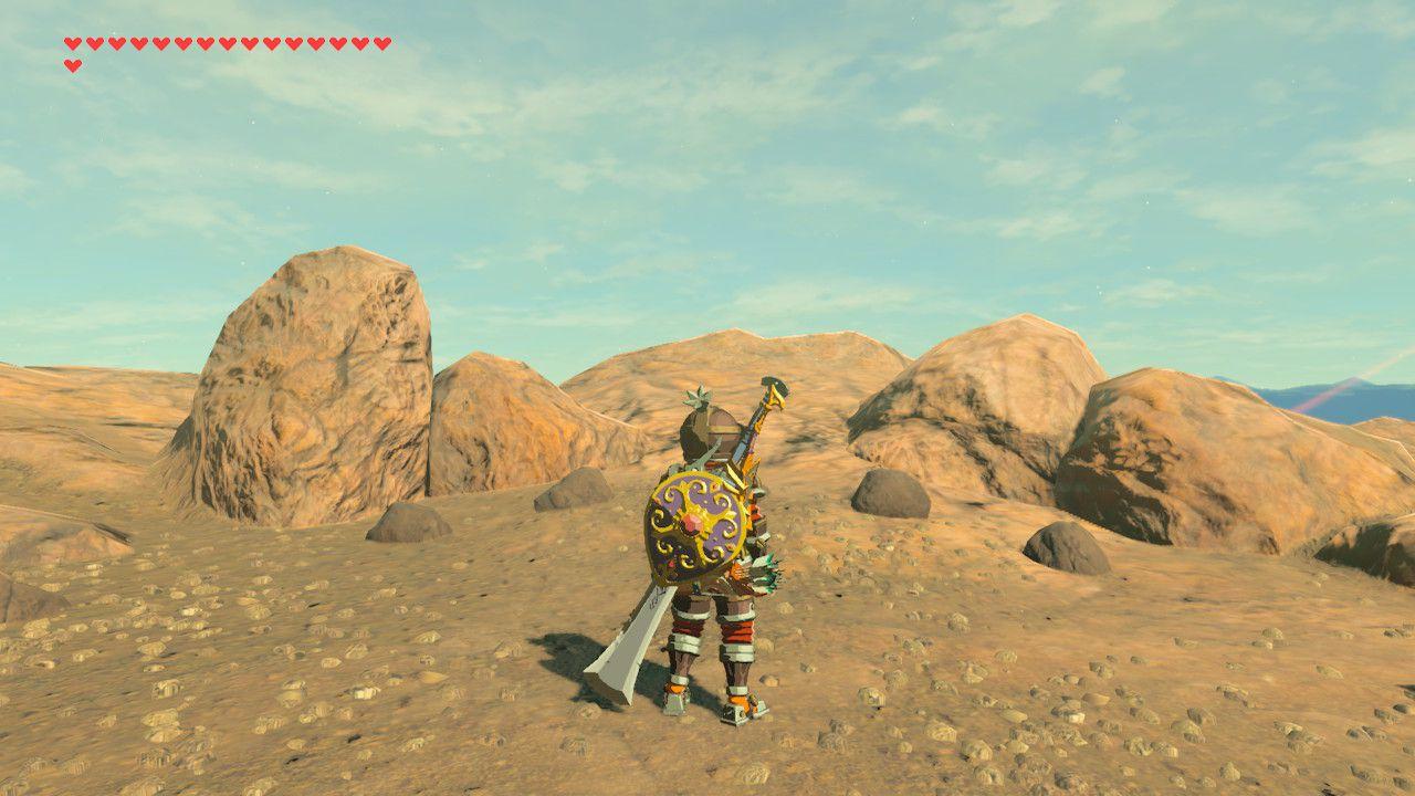 Locating memory in Eldin Canyon in The Legend of Zelda: Breath of the Wild.