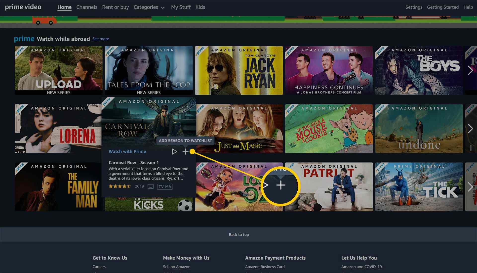 Amazon Prime Video page on the Amazon website.