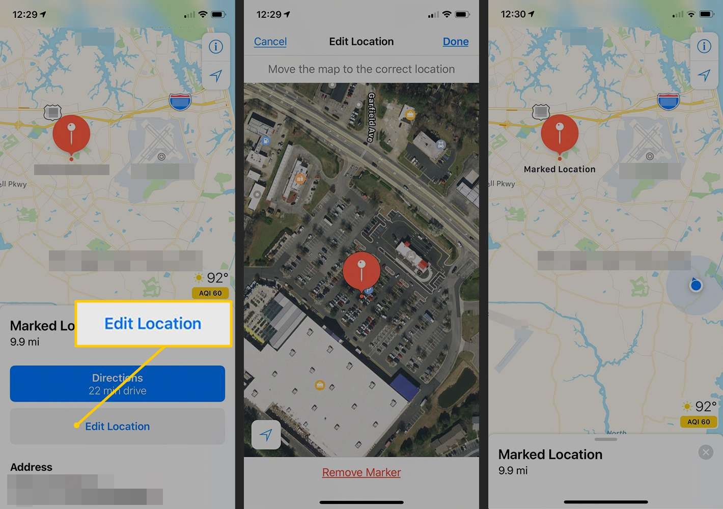 Edit Location, Marked pin in Maps for iOS