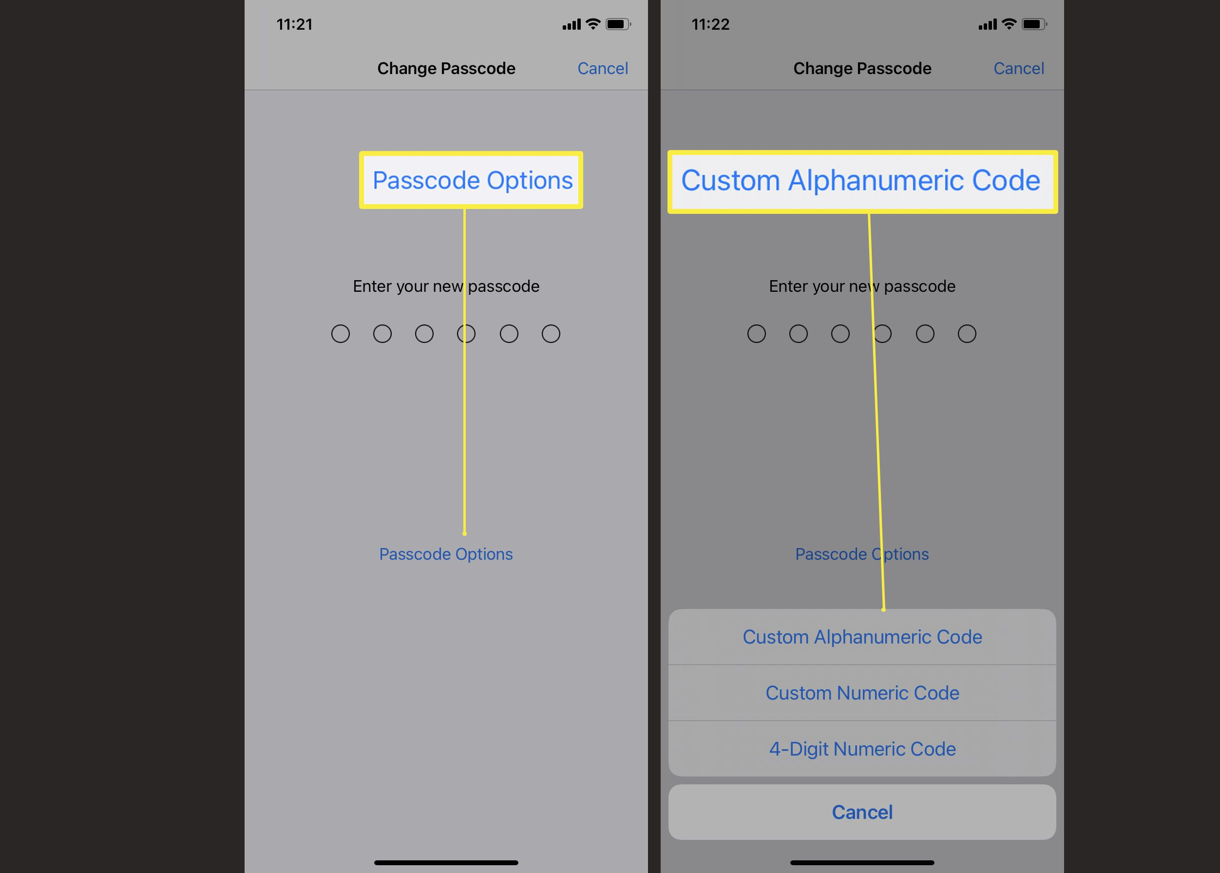 Steps required to change passcode on iPhone to custom alphanumeric code