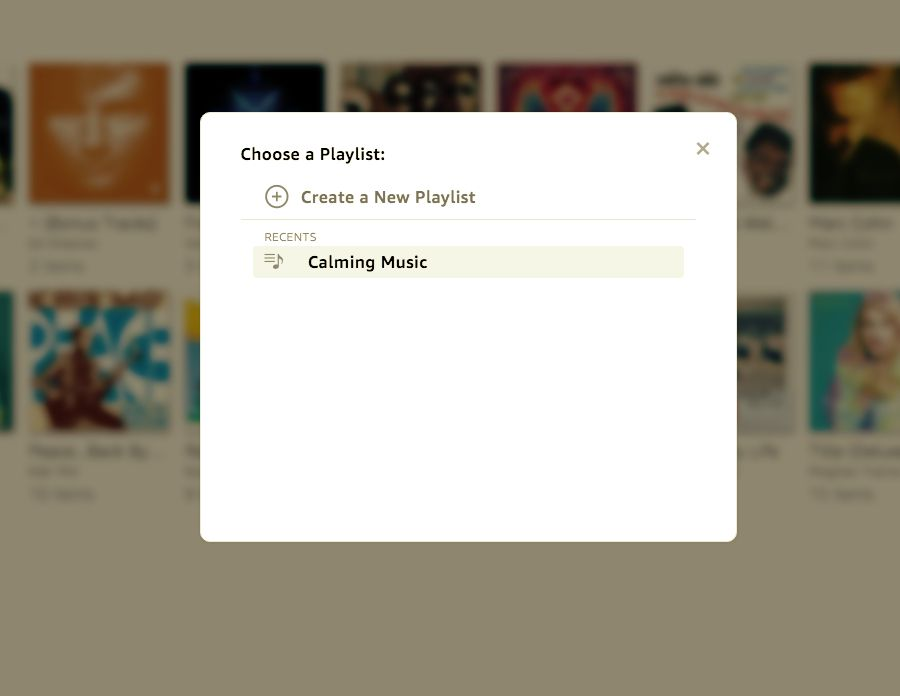 Select the playlist where you want to add the album