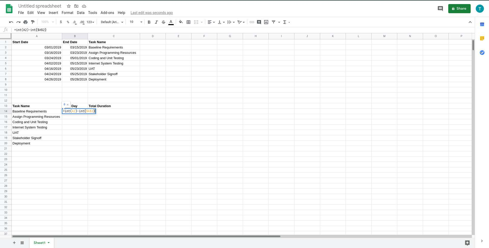 Google Sheets start day formula added