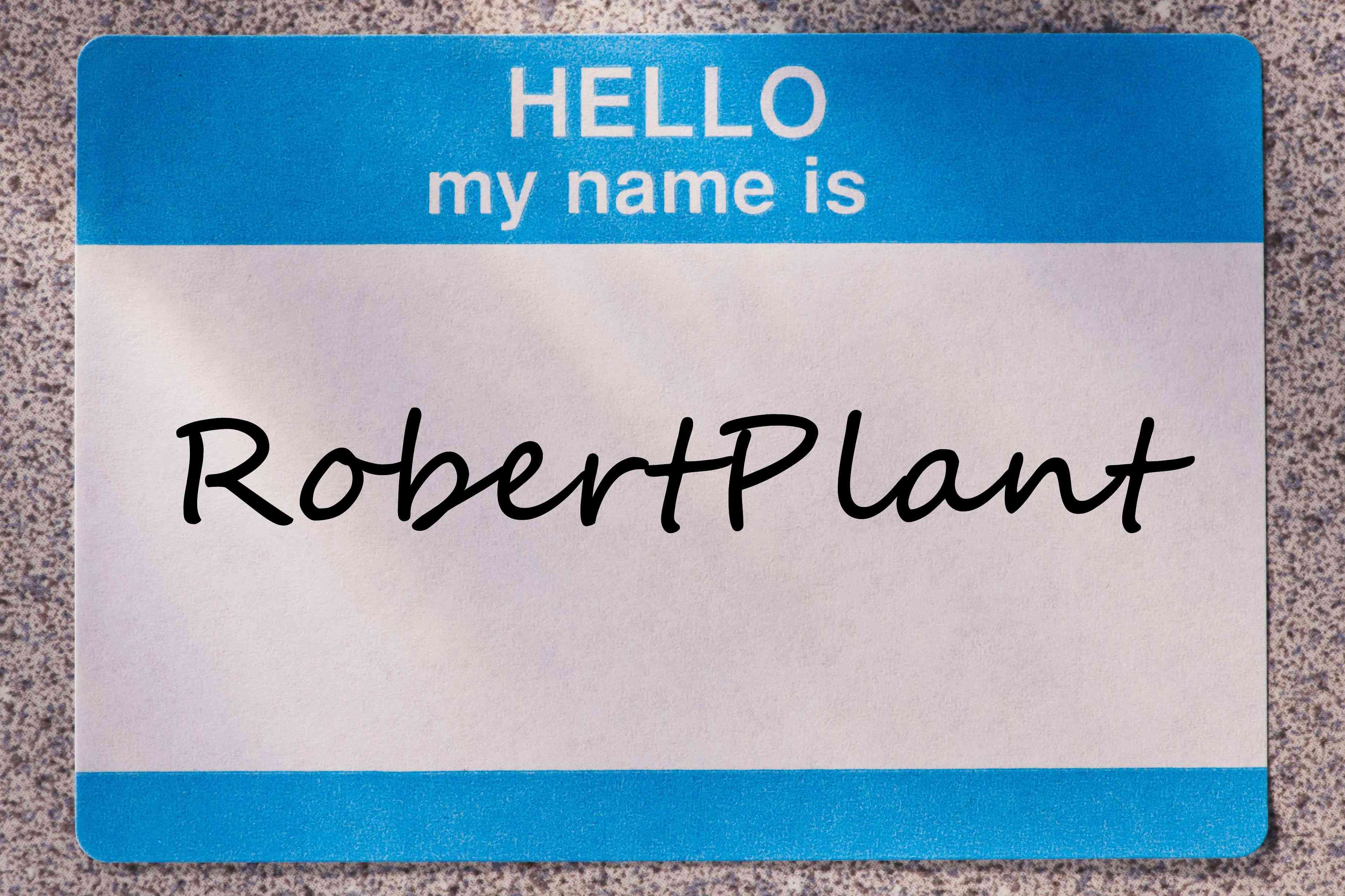 Close up of name tag that reads HELLO my name is RobertPlant