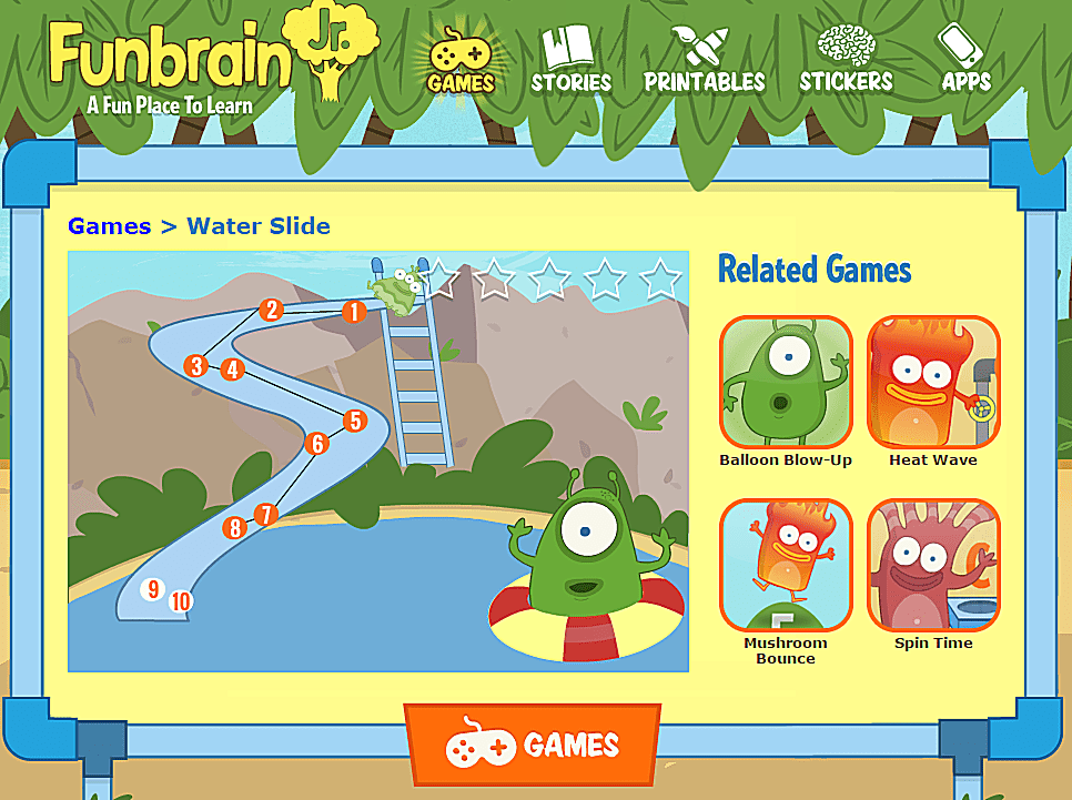 Screenshot of a free online preschool game at Funbrain Jr.