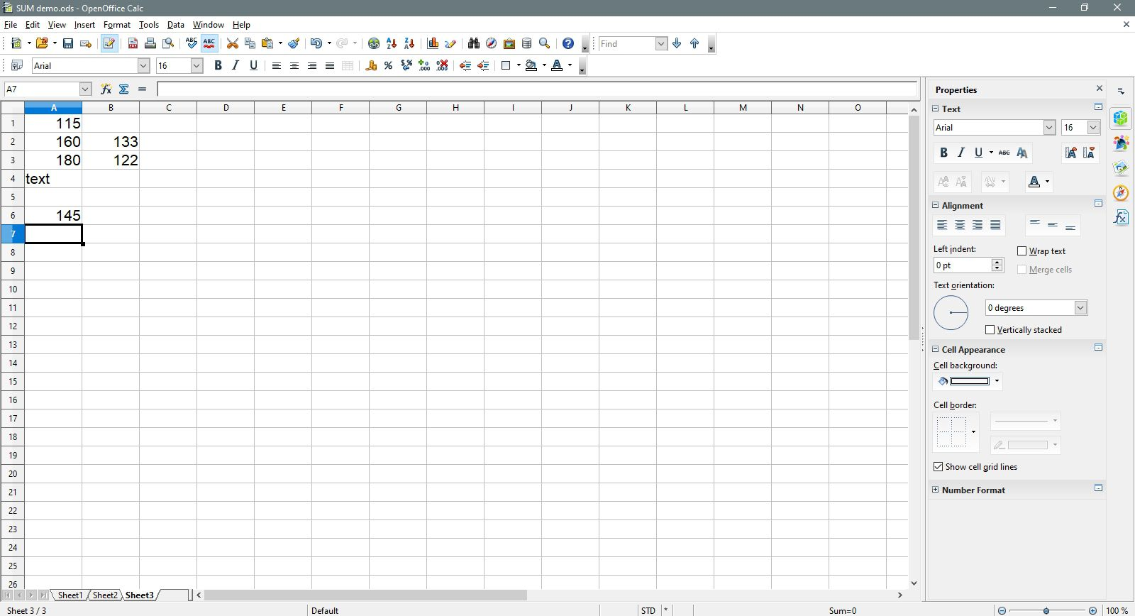 A7 is selected in OpenOffice Calc.