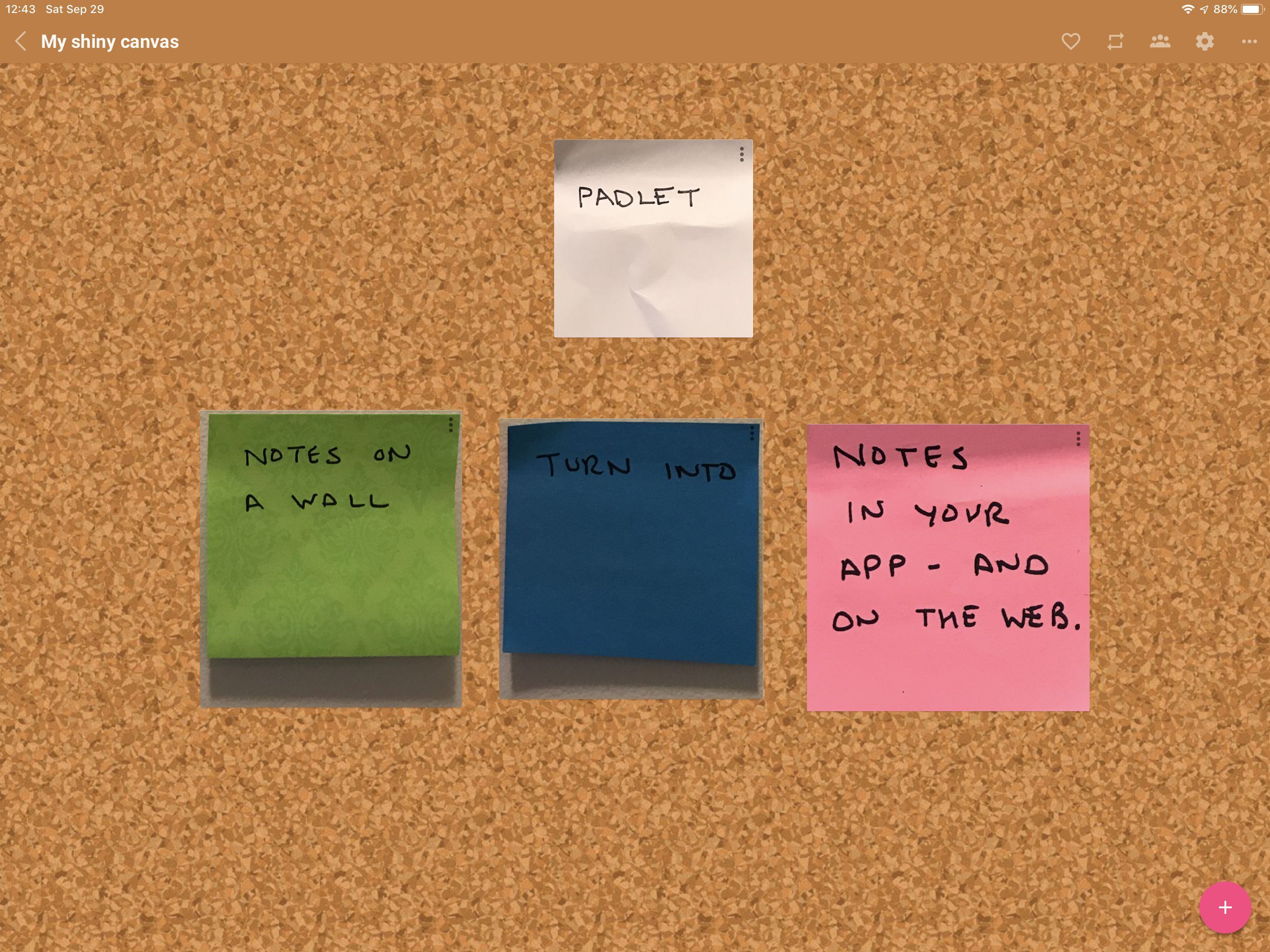 Screenshot of Padlet, showing 4 sticky notes converted into resizeable digital notes