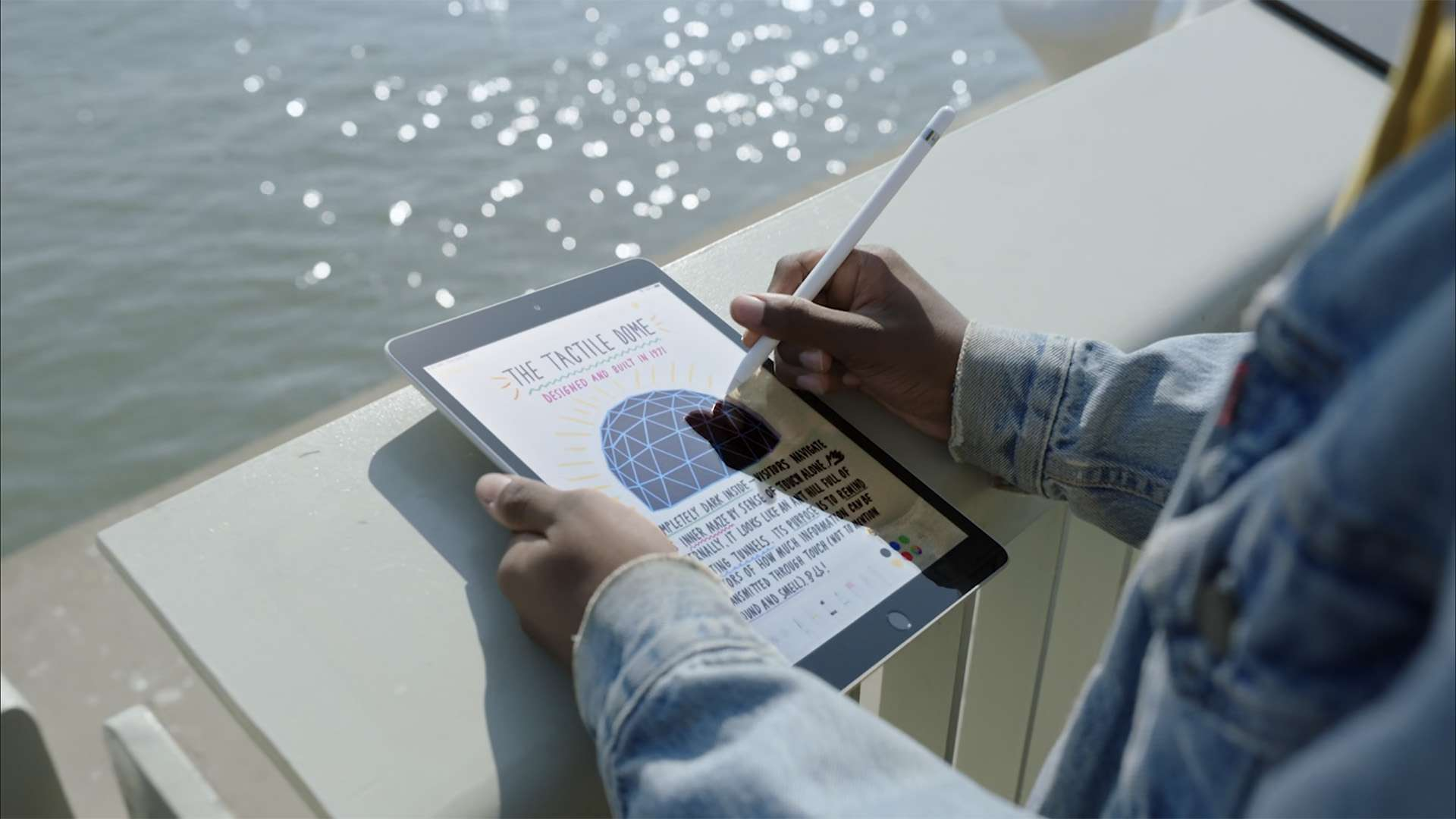 New Apple iPad with A13 chip being used on a balcony