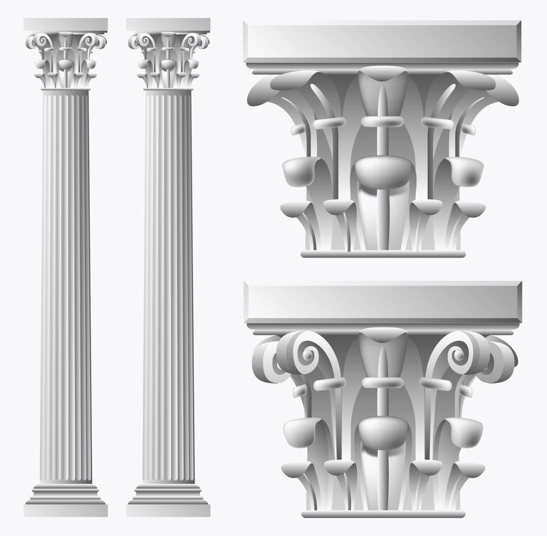 Black and white digital illustration of two Corinthian columns and capitals