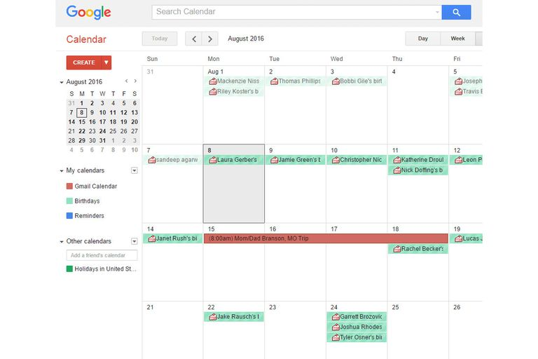 Screenshot of a calendar in Google Calendar