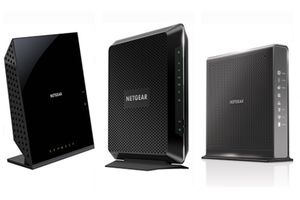 Five different types of modems lined up to show how different they can look