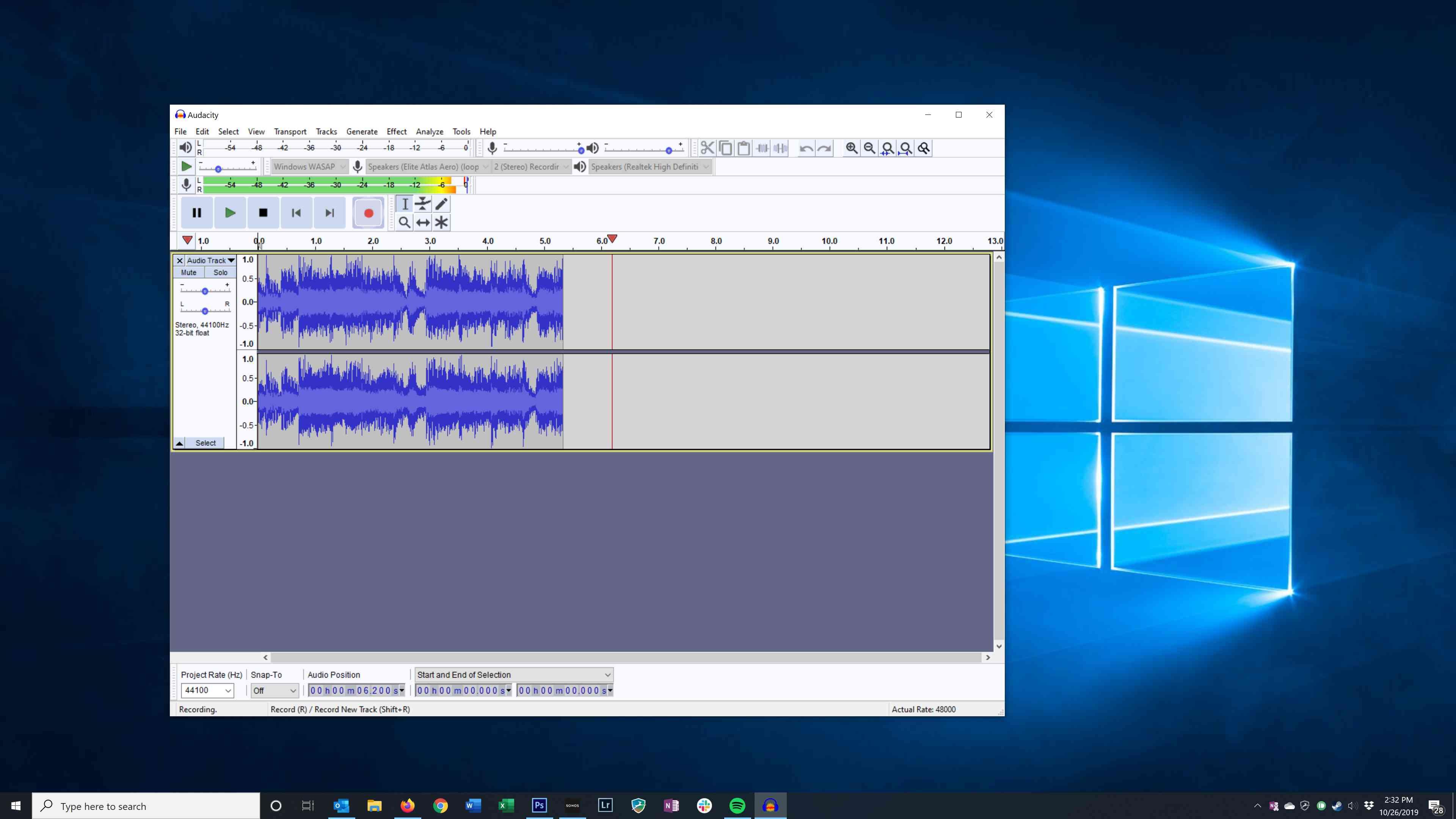 Recording audio in Audacity