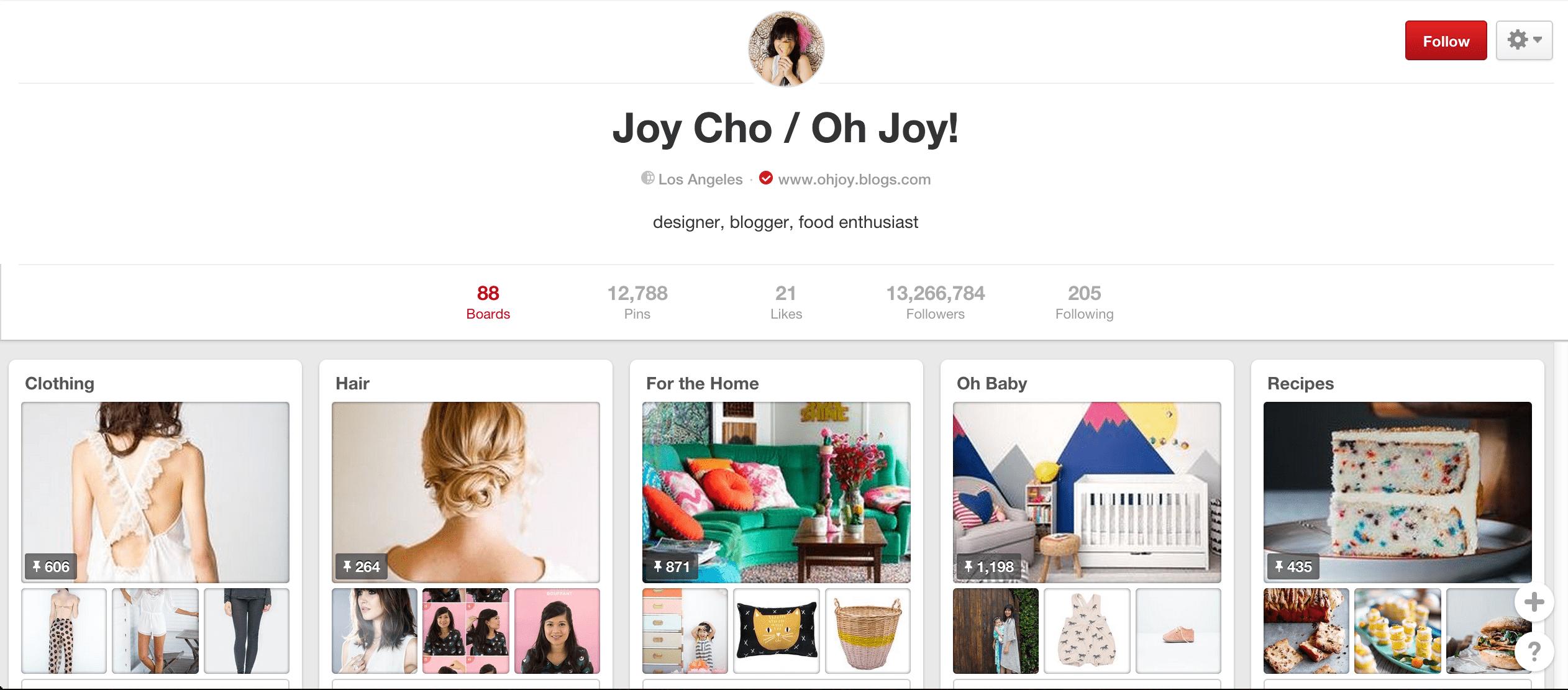 Joy Cho Pinterest board
