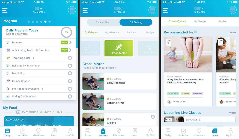 Baby Sparks mobile app for logging developmental milestones.