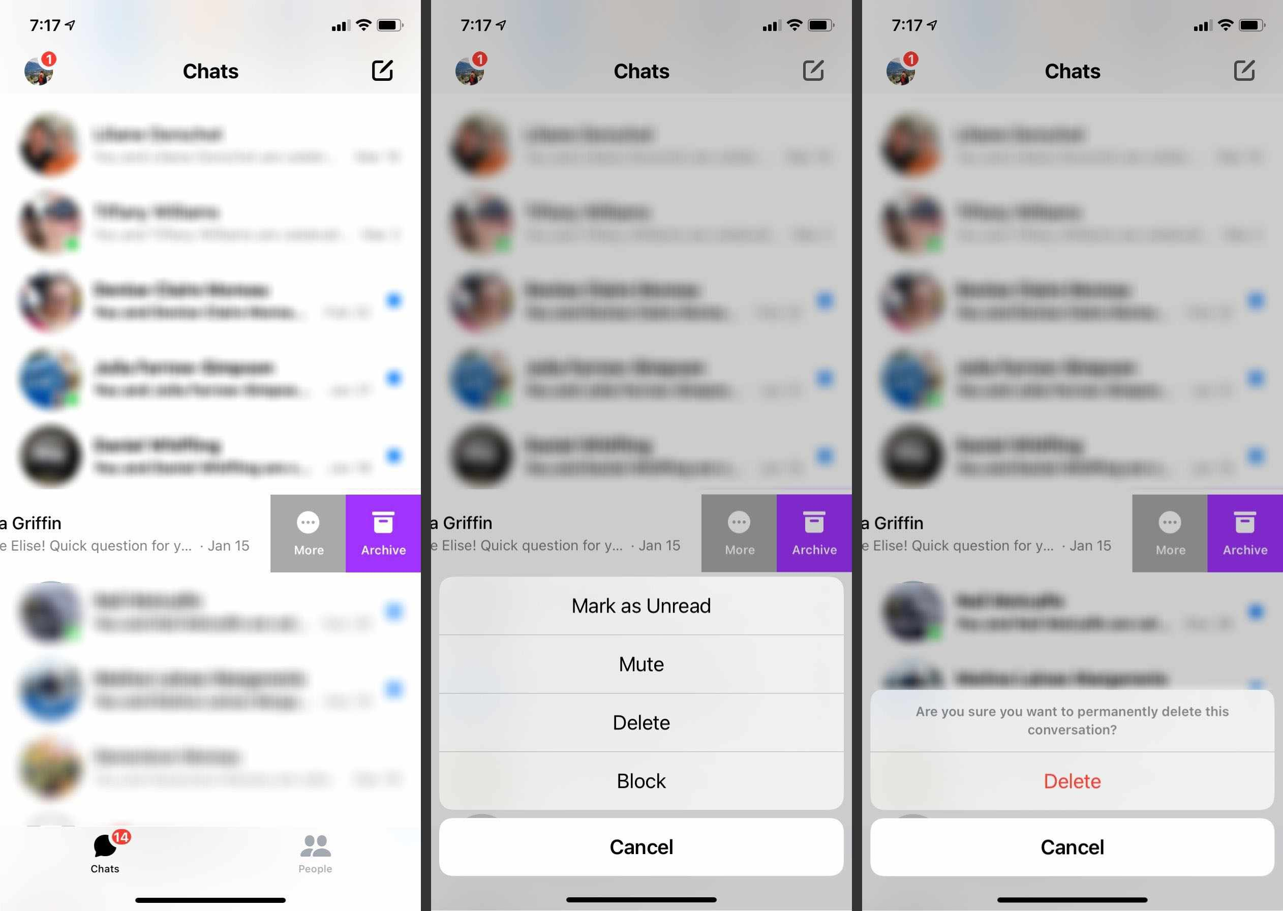 Steps to take to delete a conversation in the Facebook Messenger app.