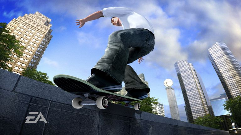 Skater doing a trick on a wall in Skate 3