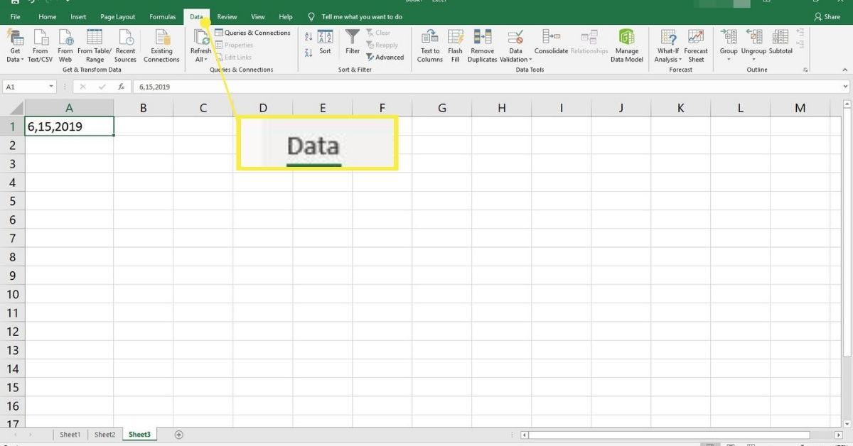 Data tab in Excel.
