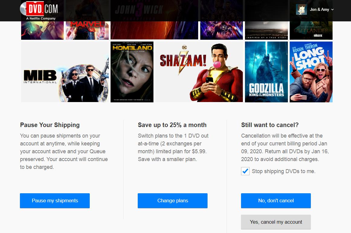 DVD Netflix confirm cancel screen