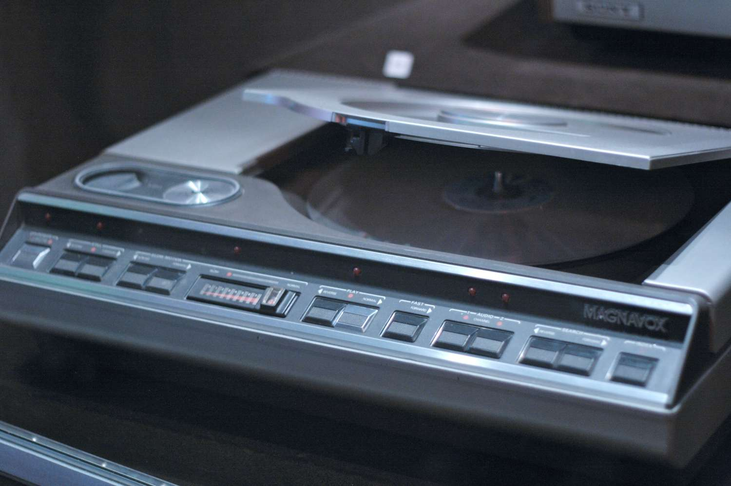 Magnaxbox LaserDisc player with disc slot open