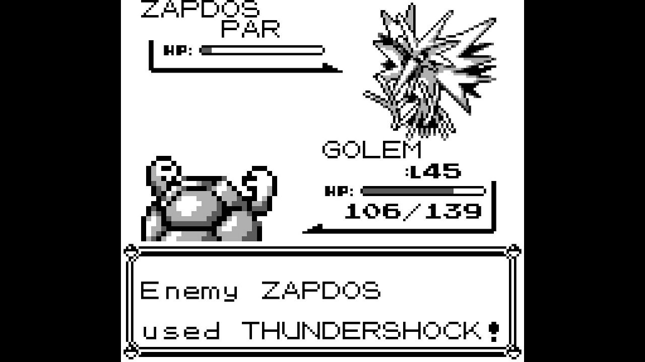 Capturing a Zapdos in Pokemon Red