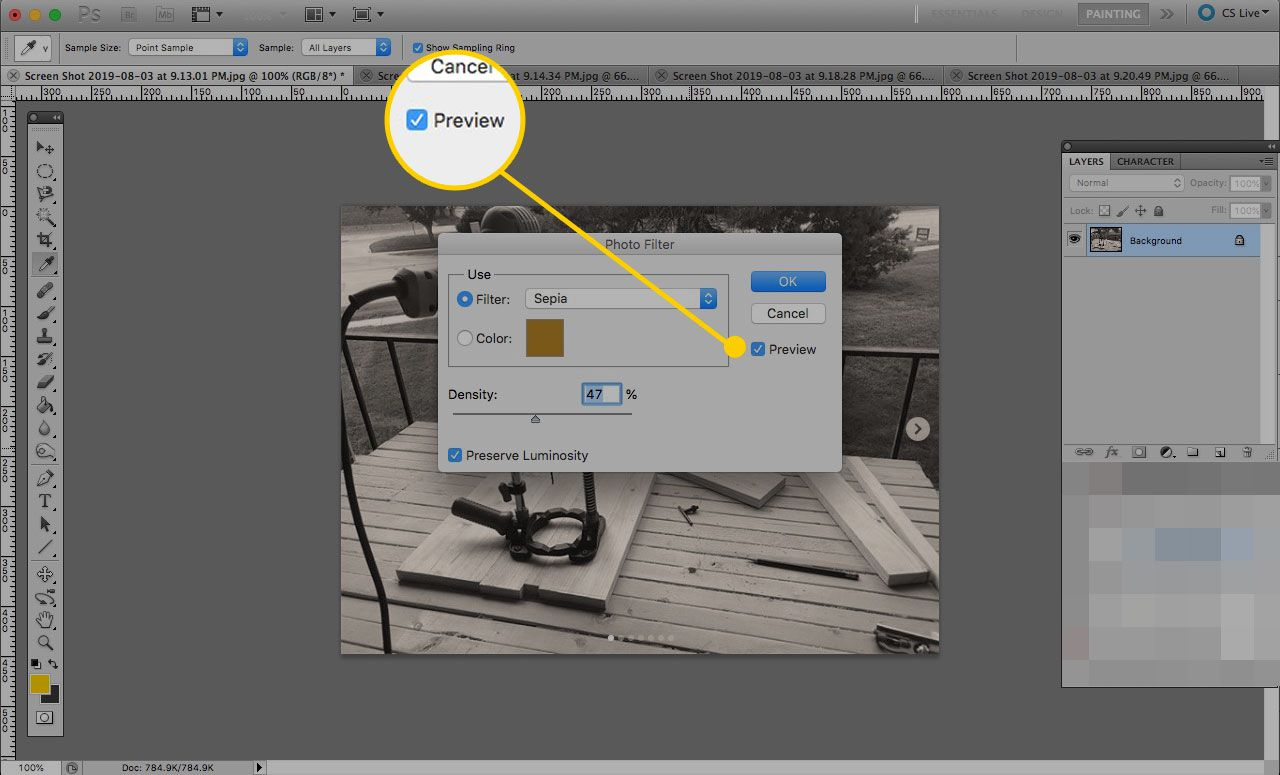 The preview option in Photoshop