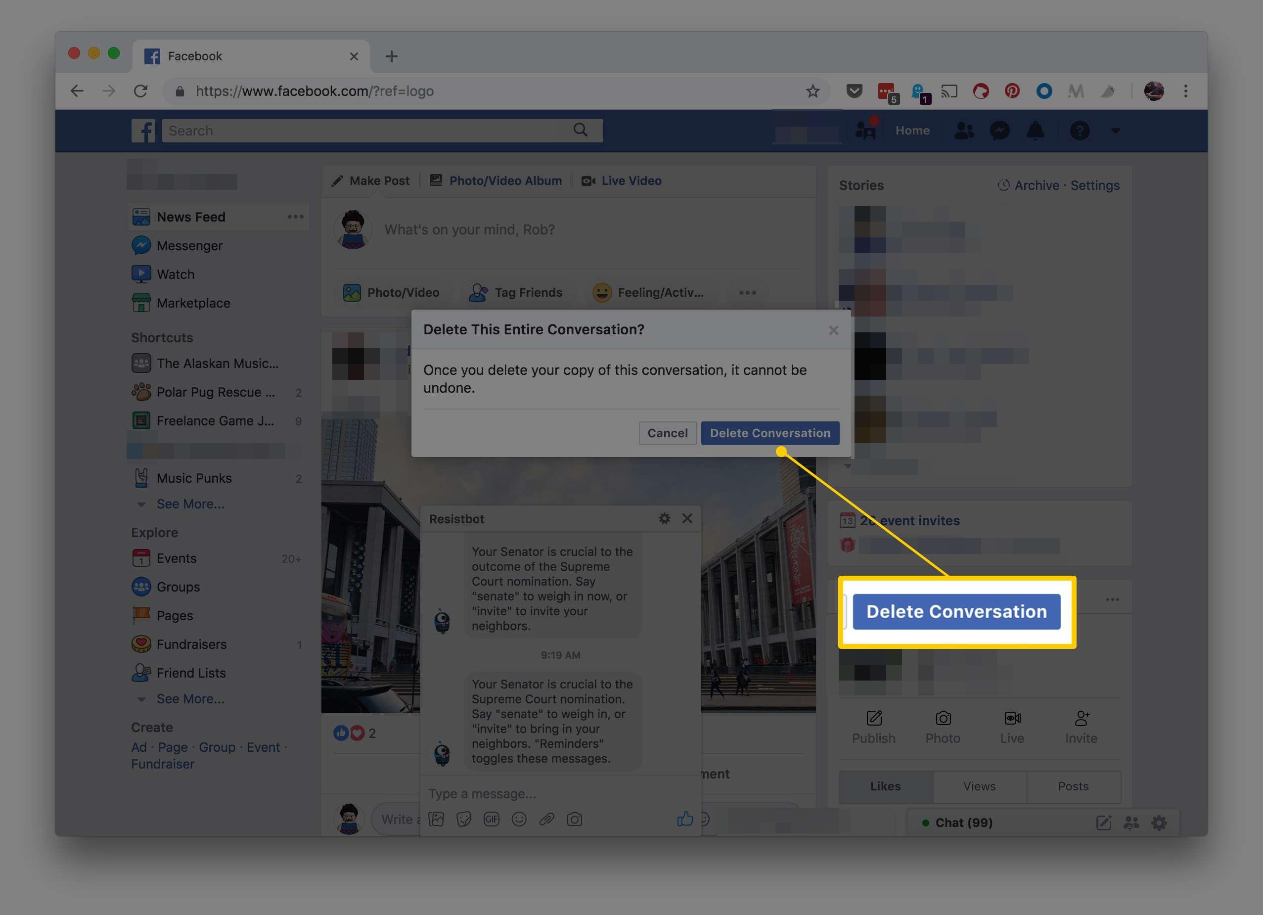 delete photo facebook ipad