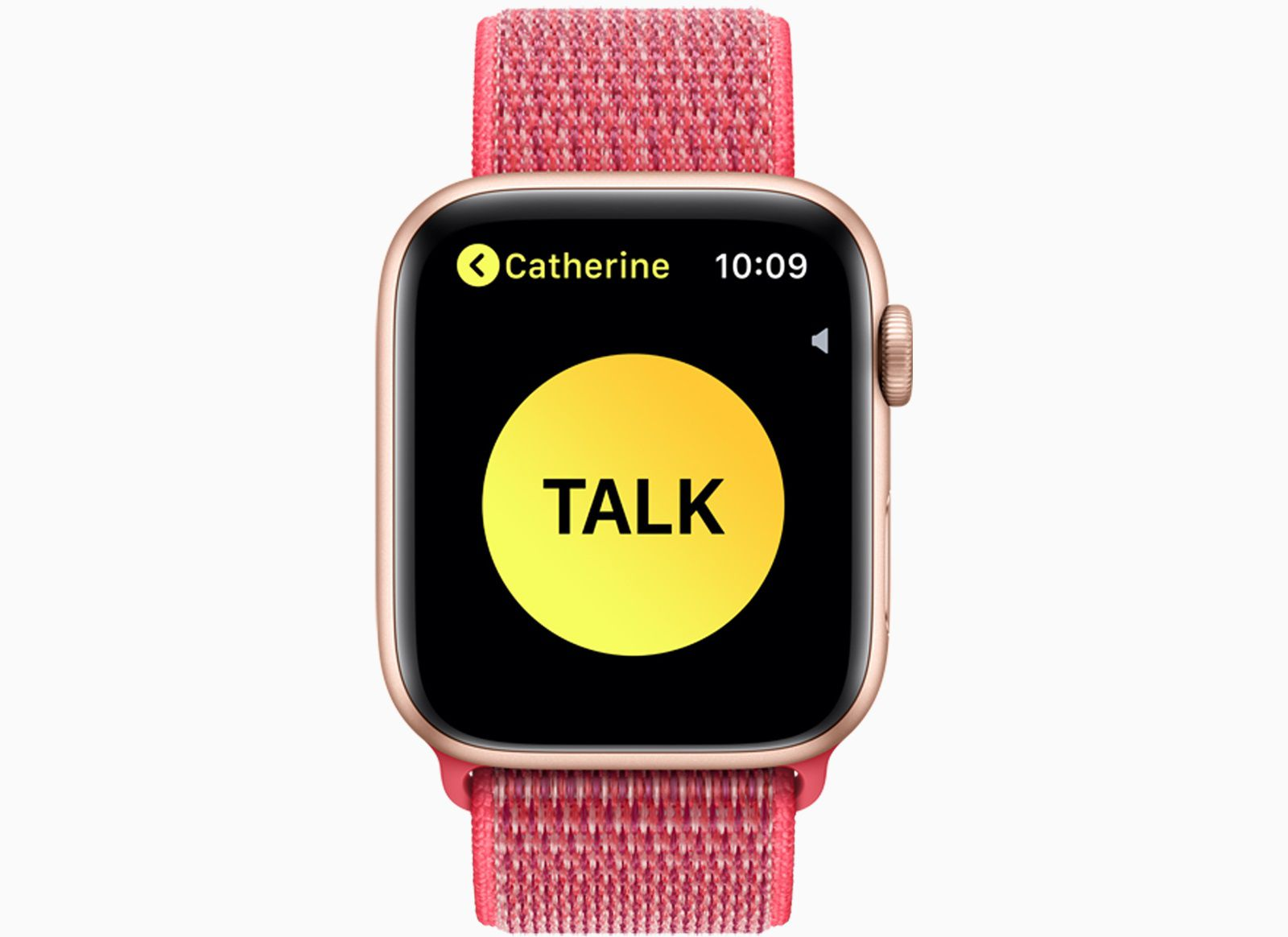 An Apple Watch with the walkie-talkie app on the screen