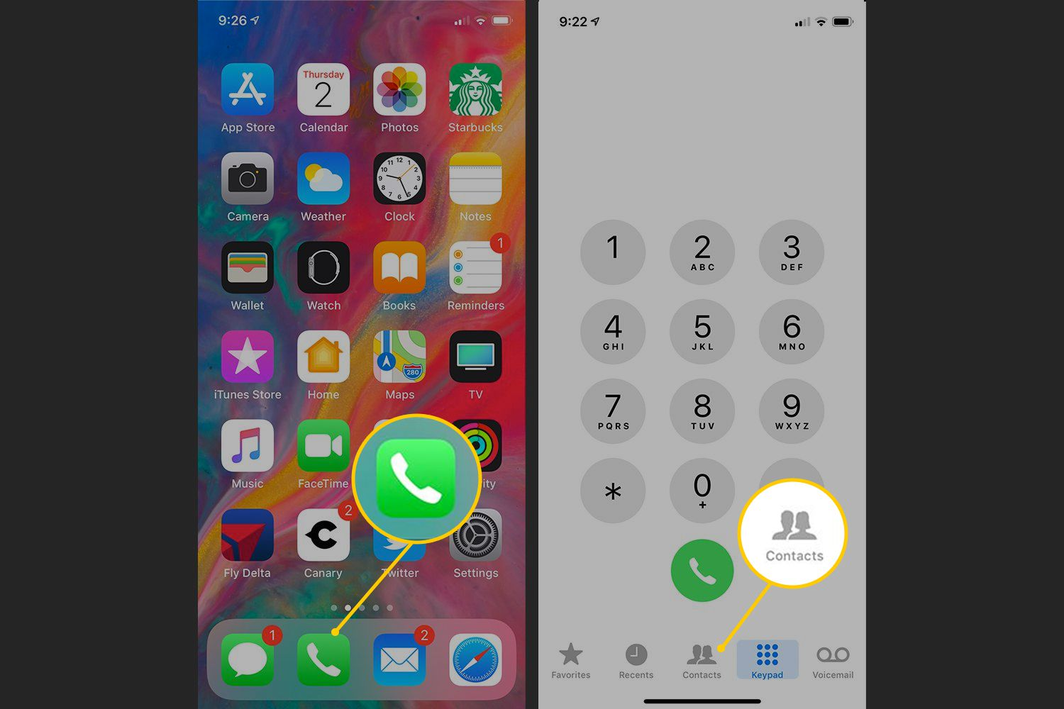 Phone icon, Contacts button on iOS