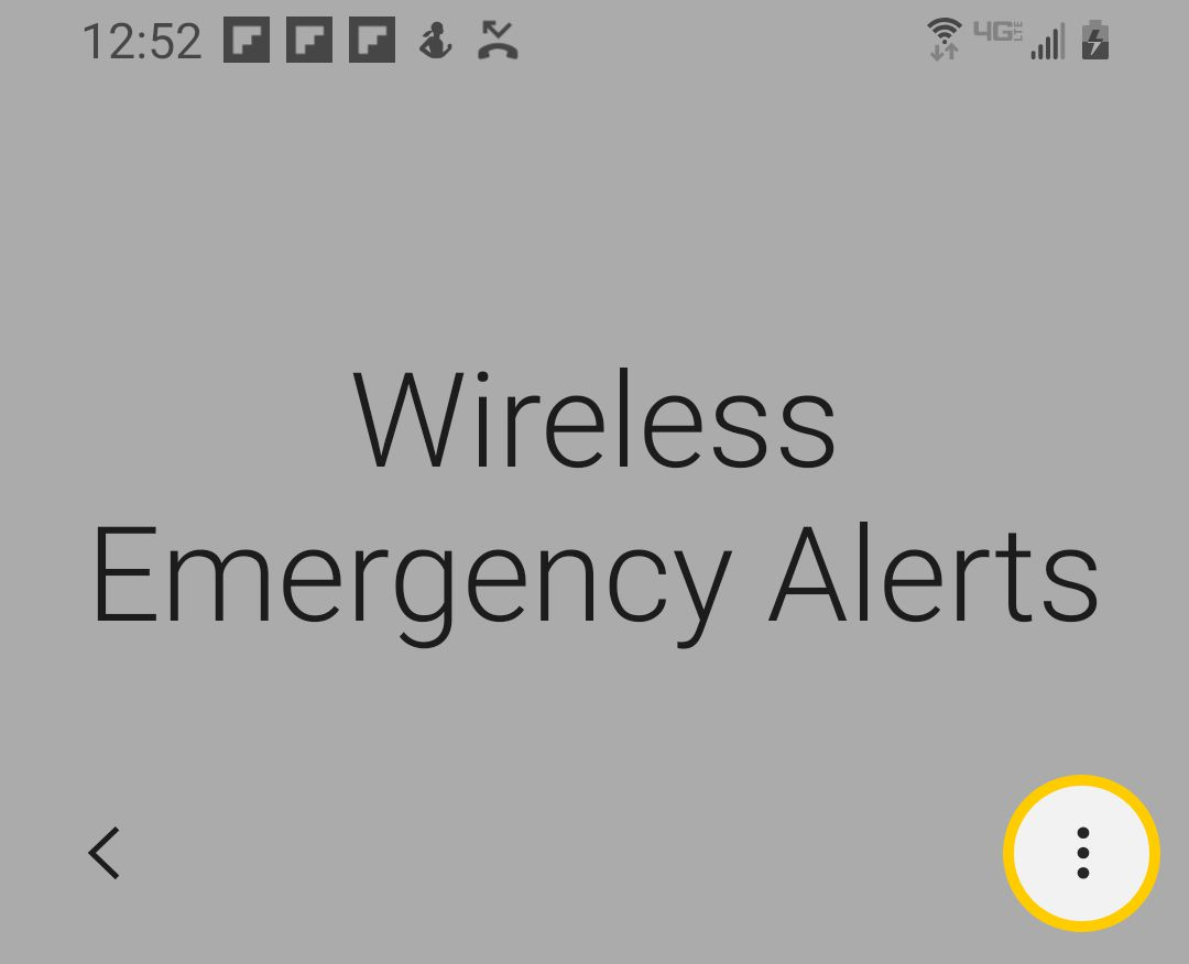 The menu icon for Wireless Emergency Alerts on Samsung S9 and S10.