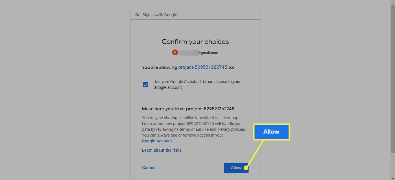 Allow on Google app verification