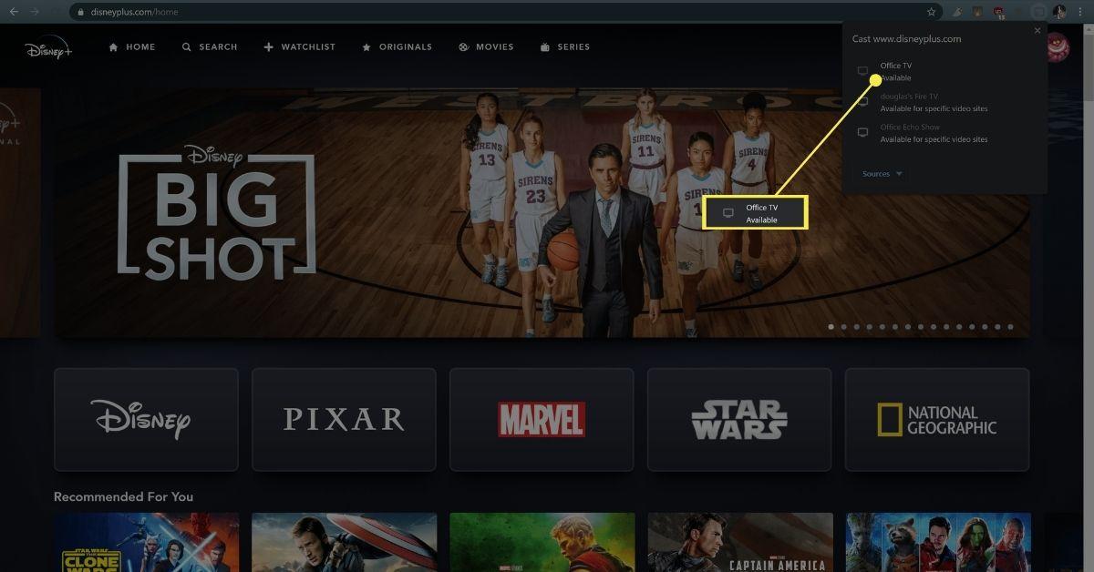 Office TV in Chrome menu.