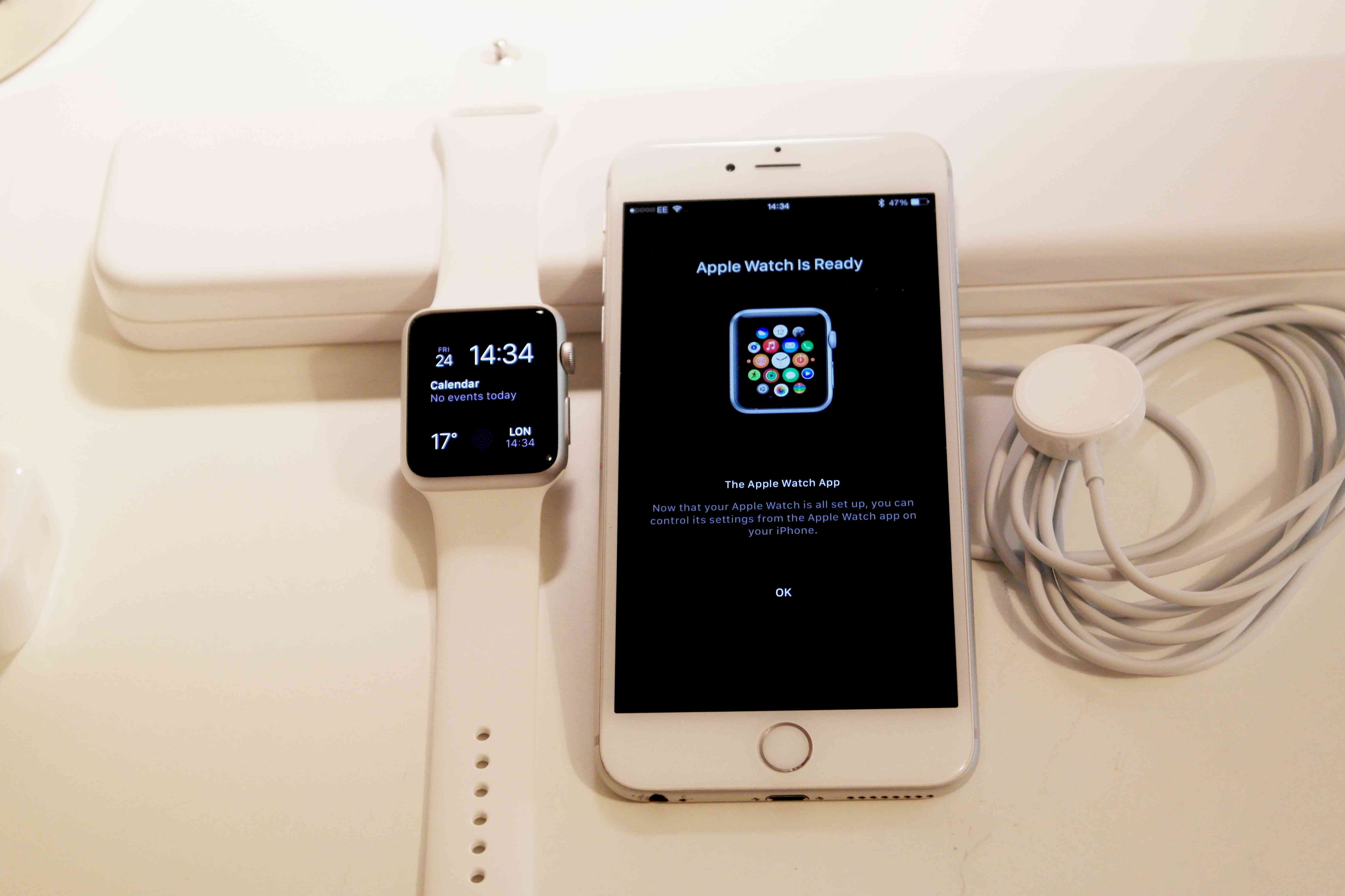 Apple Watch is Ready message on iPhone next to Apple Watch