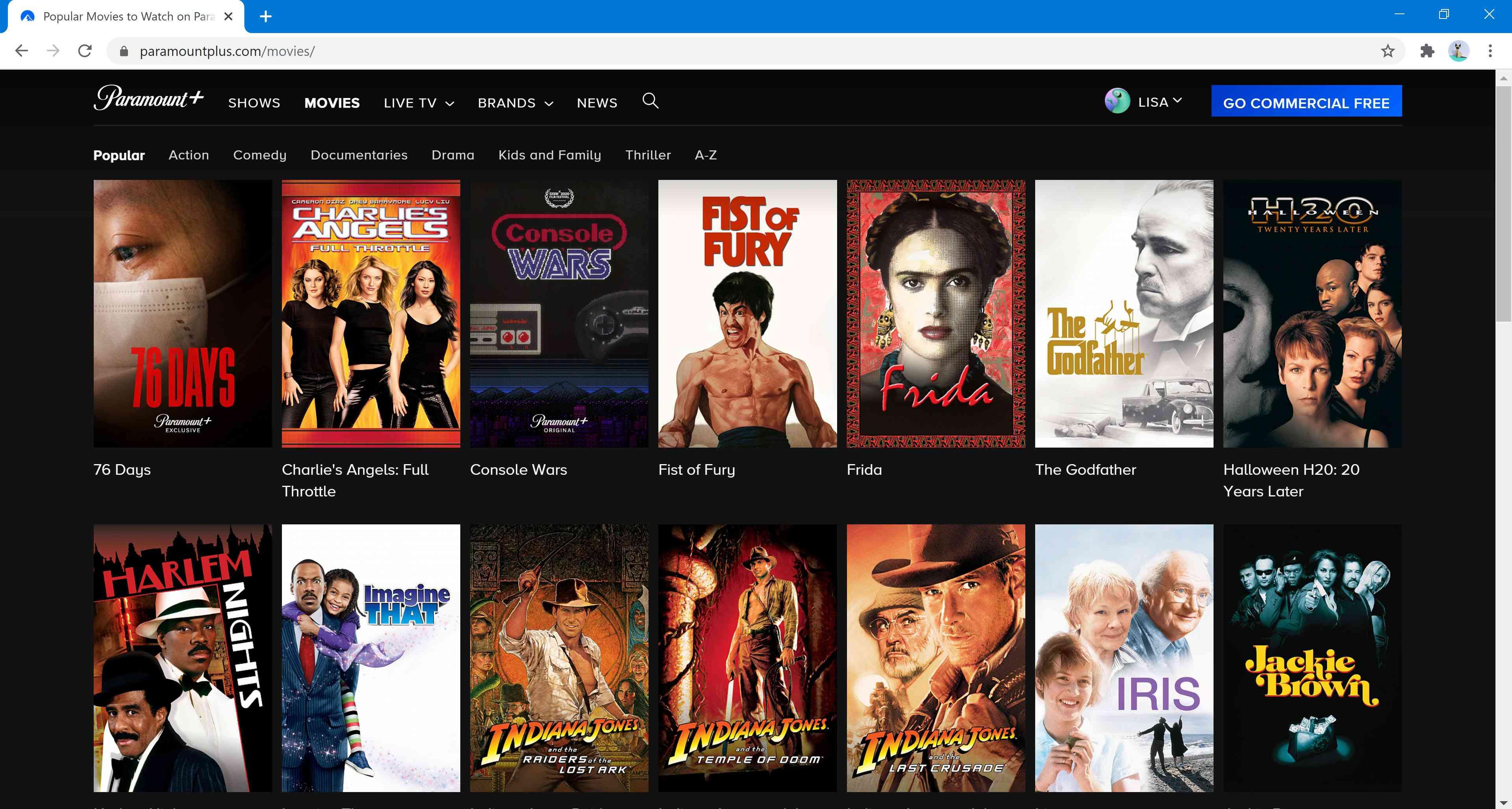 Movies on Paramount+.