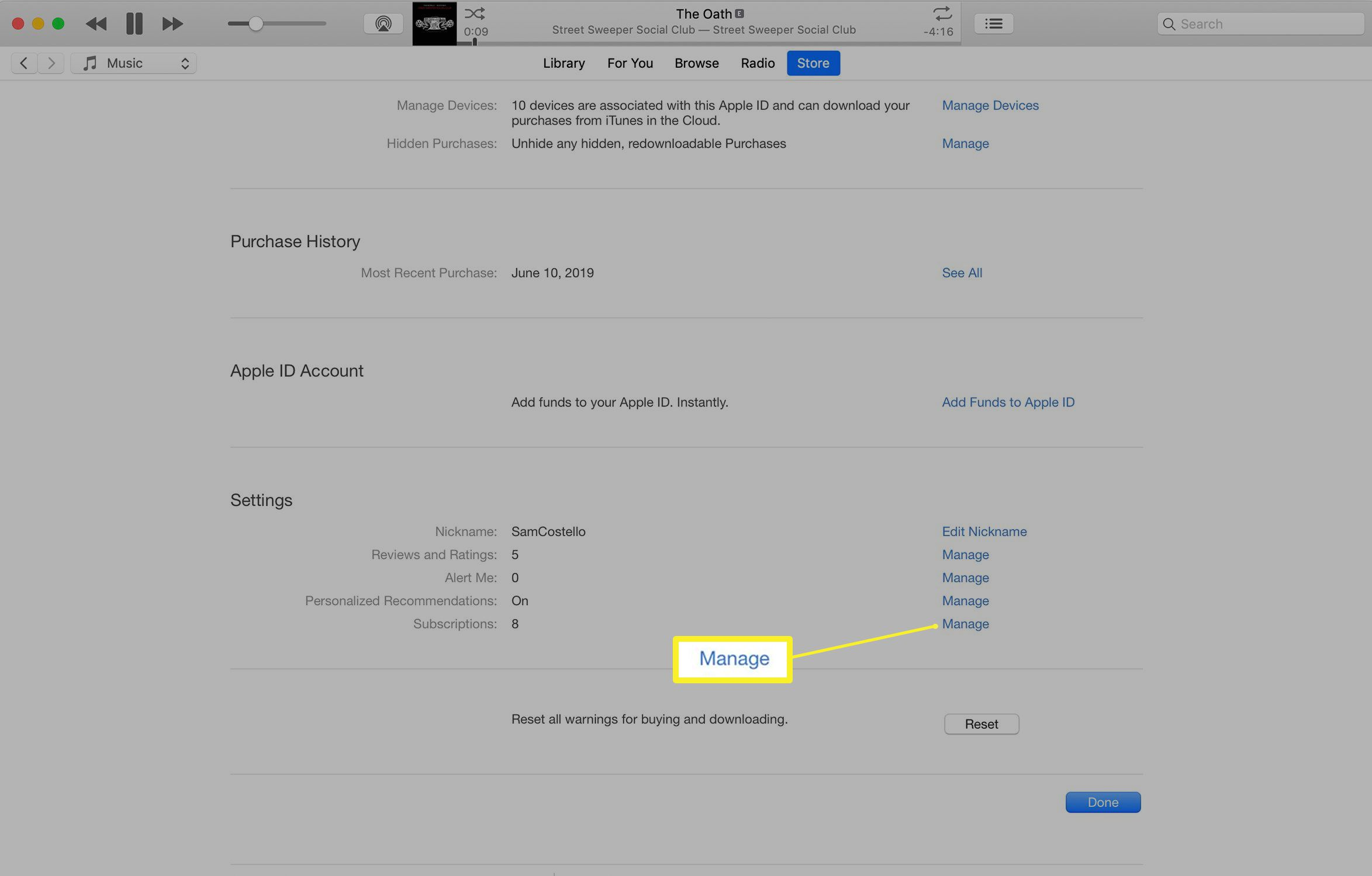 iTunes subscriptions settings