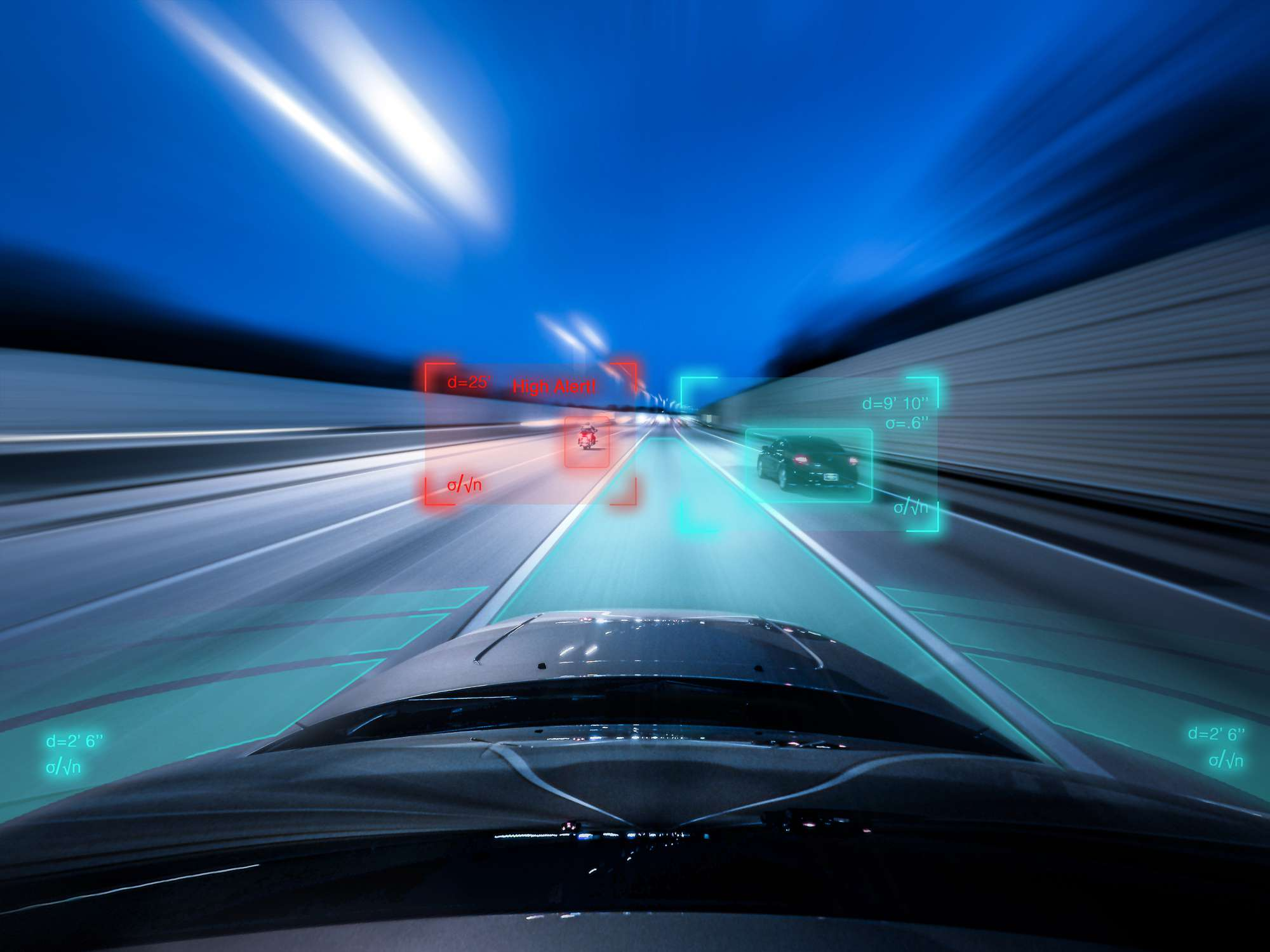 View from the top of a self driving car driving at speed