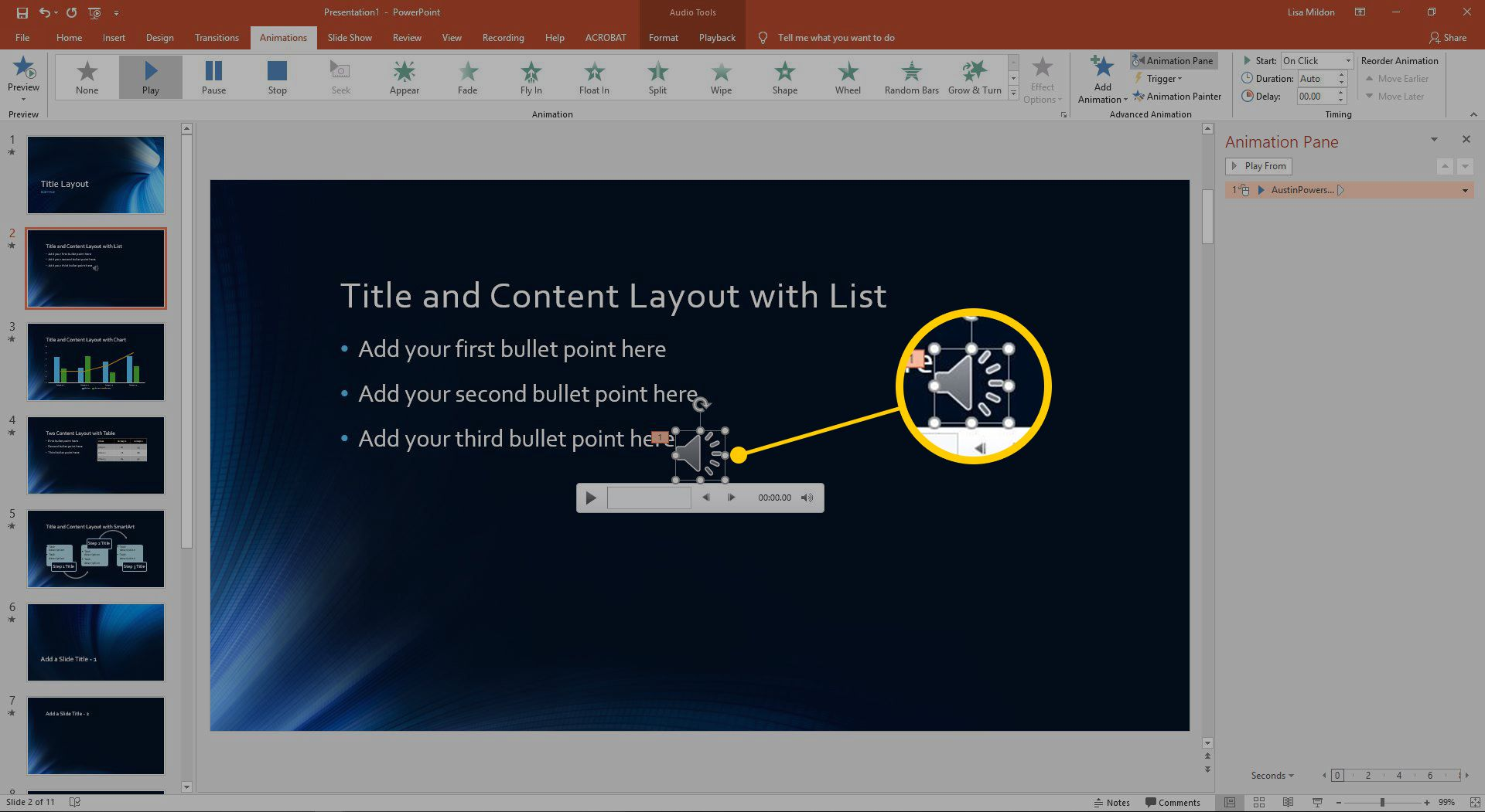 The sounds icon and animation pane in Powerpoint.