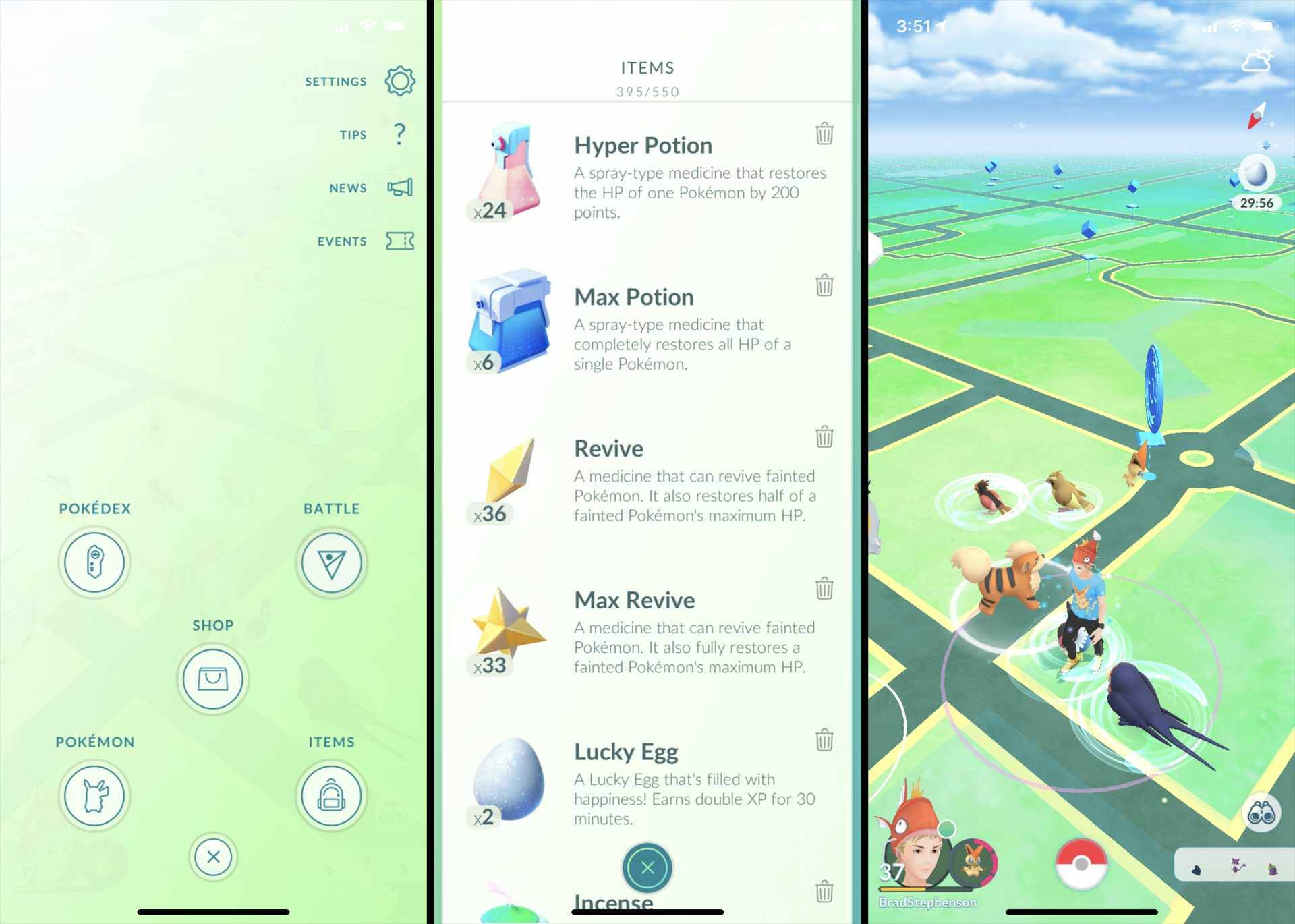 Using a Lucky Egg in Pokemon GO to get double XP.