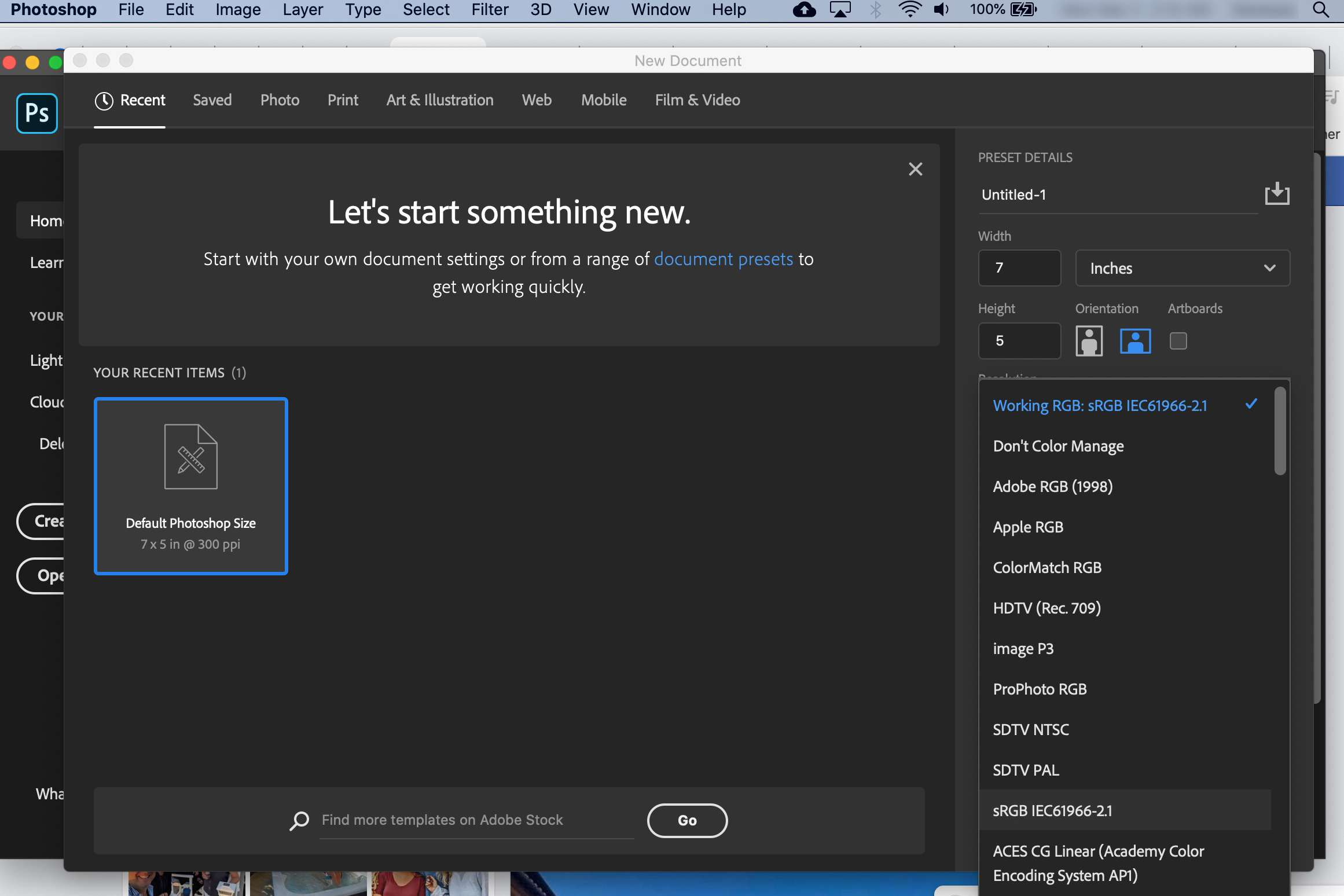 Adobe Photoshop working space selection