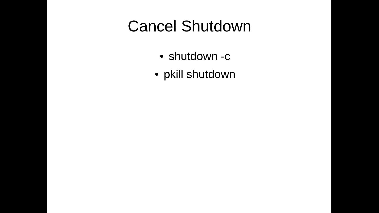Cancel Linux shutdown command