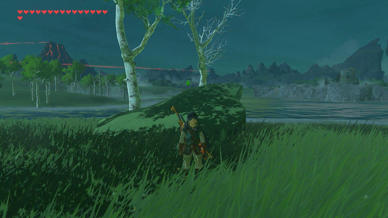 Arriving at Lake Kolomo in The Legend of Zelda: Breath of the Wild.