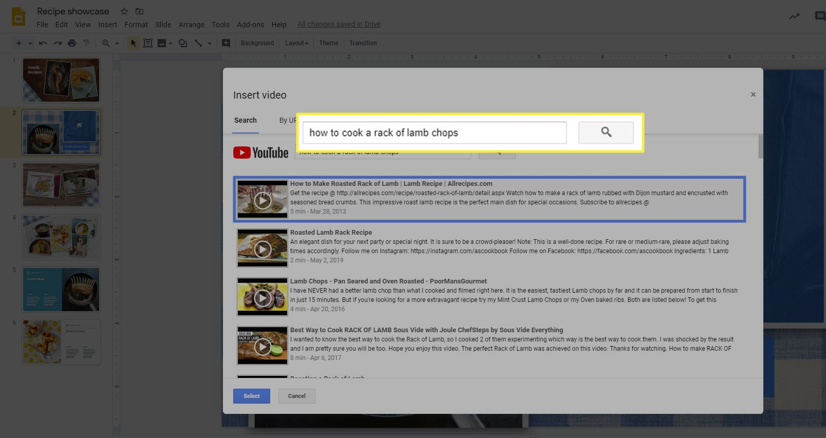 The YouTube search box when adding a video to Google Slides.