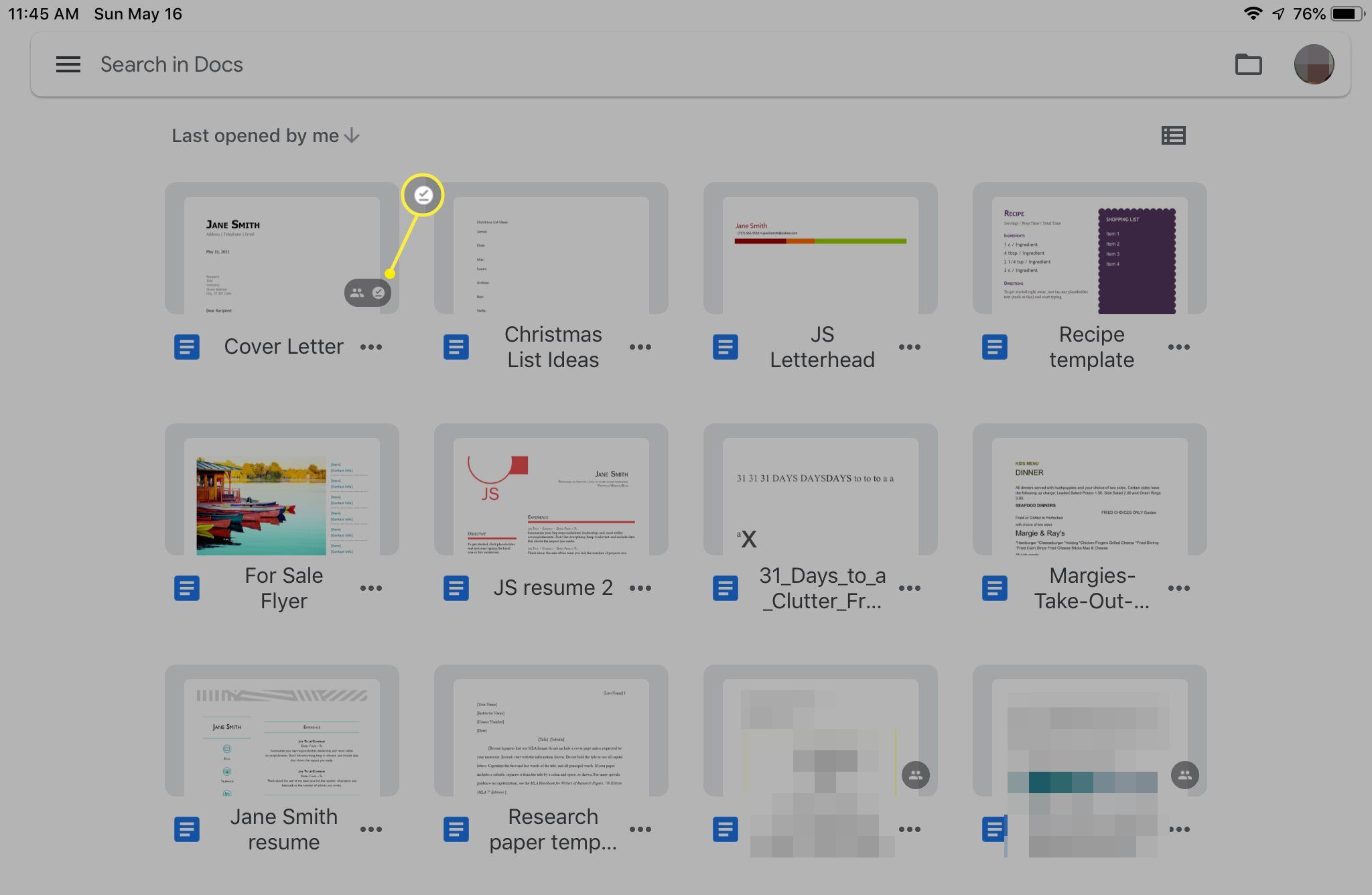 Google Docs iPad app showing available offline badge